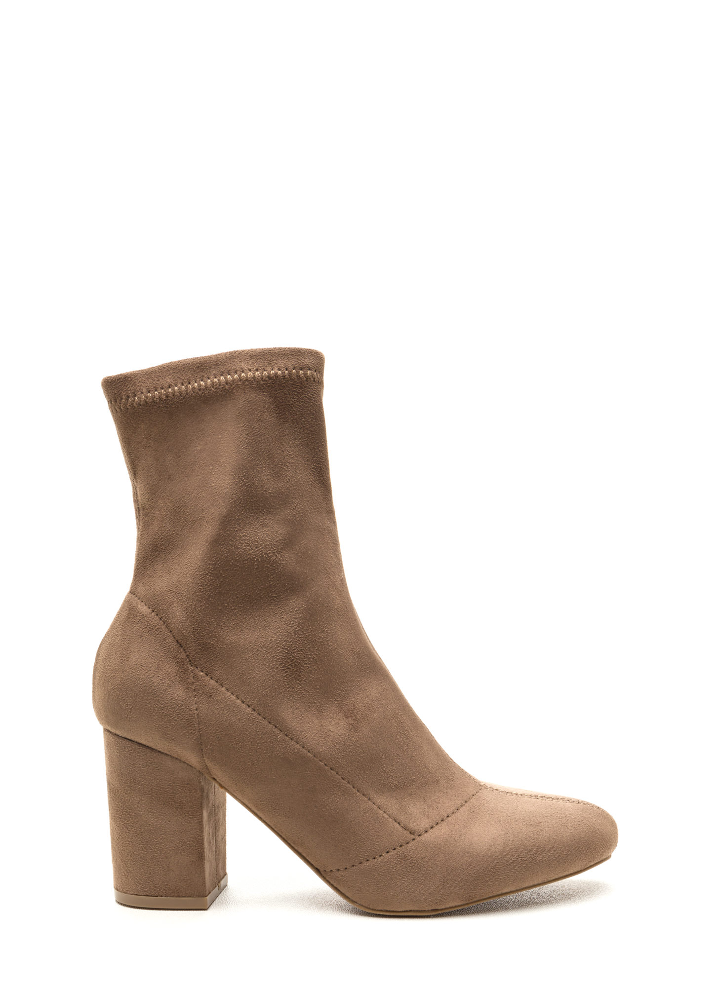 All My Days Faux Suede Chunky Booties TAUPE