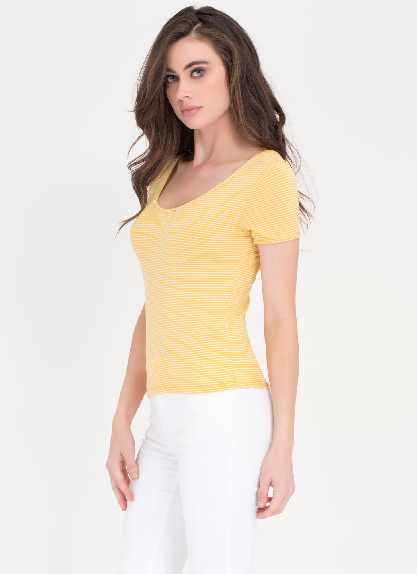 Stripe Squad Cropped Scoop Tee YELLOW