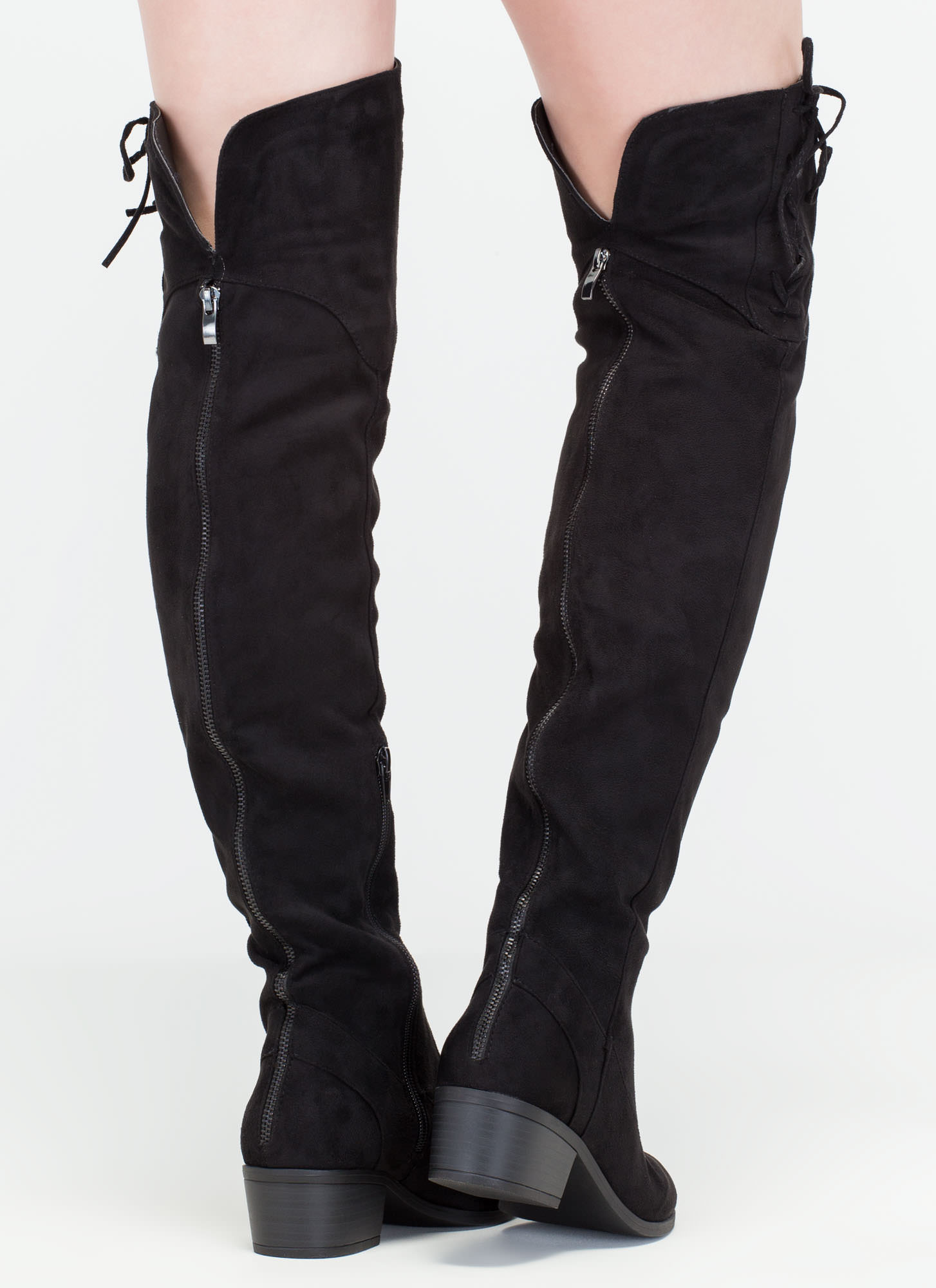 Top Style Laced-Up Over-The-Knee Boots BLACK