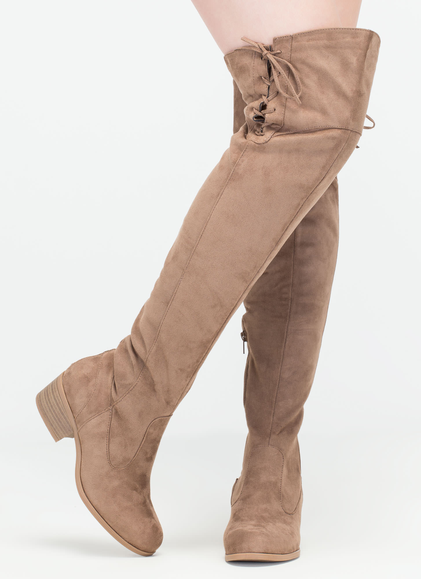Top Style Laced-Up Over-The-Knee Boots TAUPE