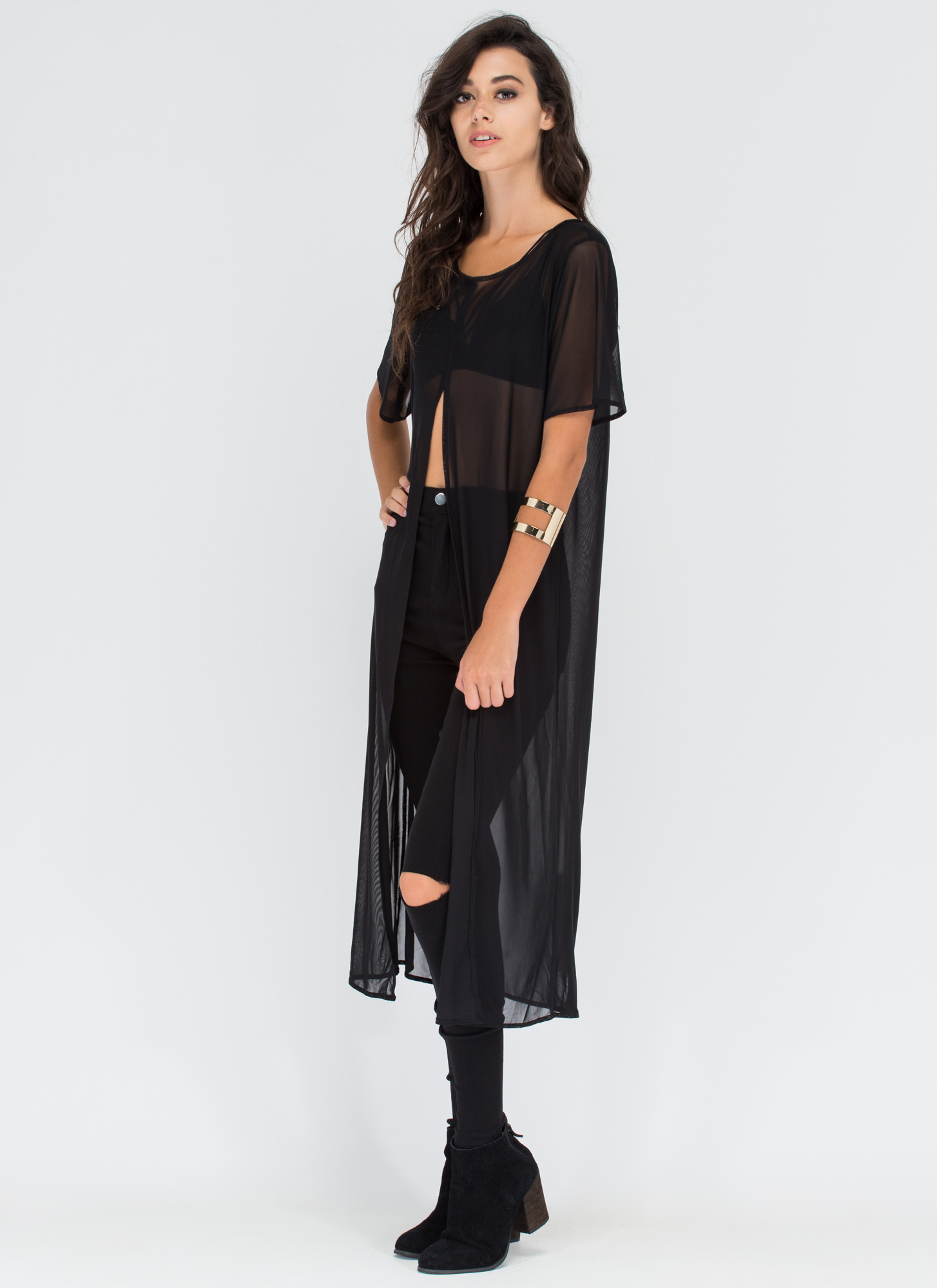 Sway Too Cool Sheer Slit Tunic BLACK