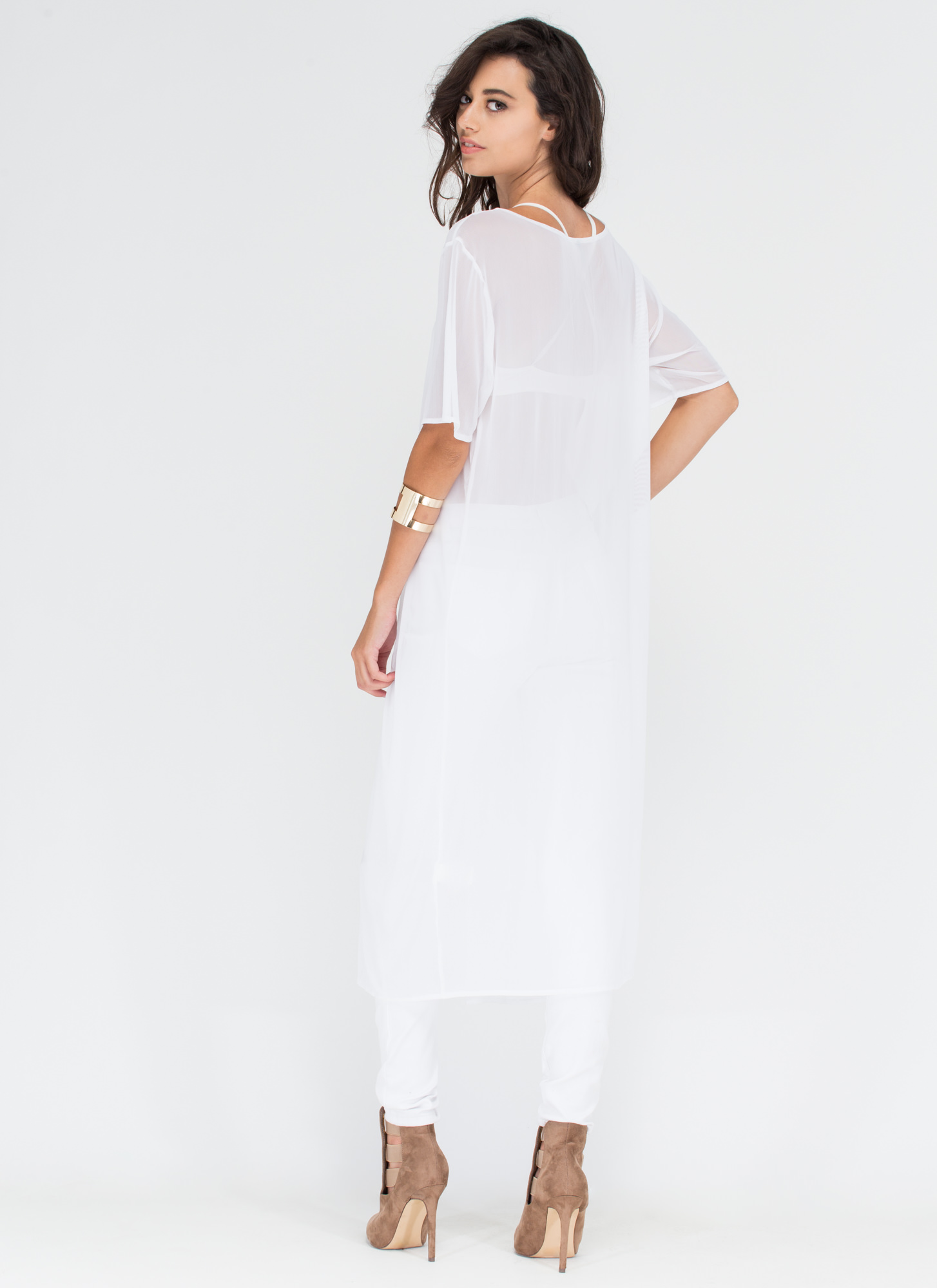 Sway Too Cool Sheer Slit Tunic WHITE