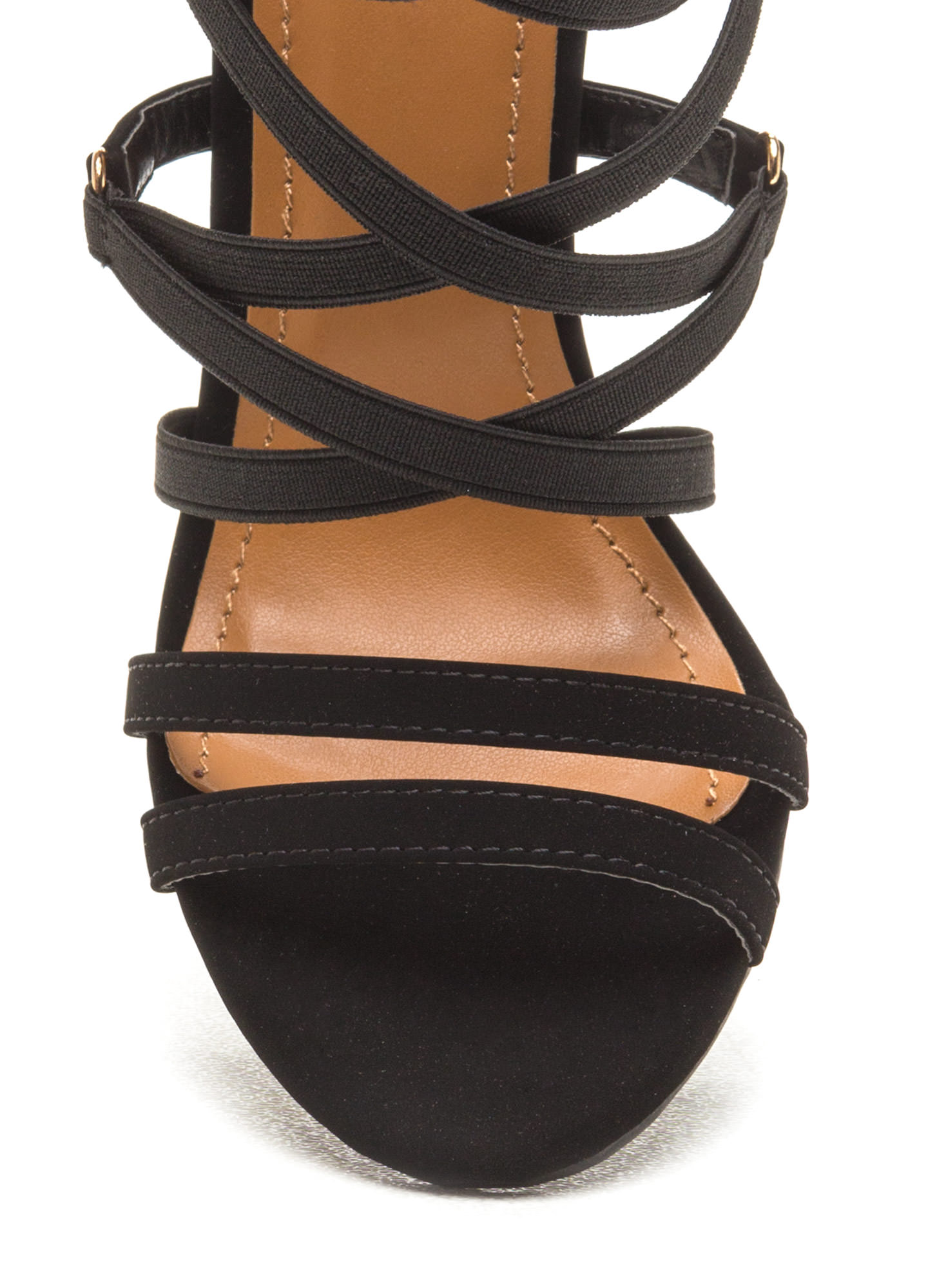 Crisscross Off Strappy Chunky Heels BLACK