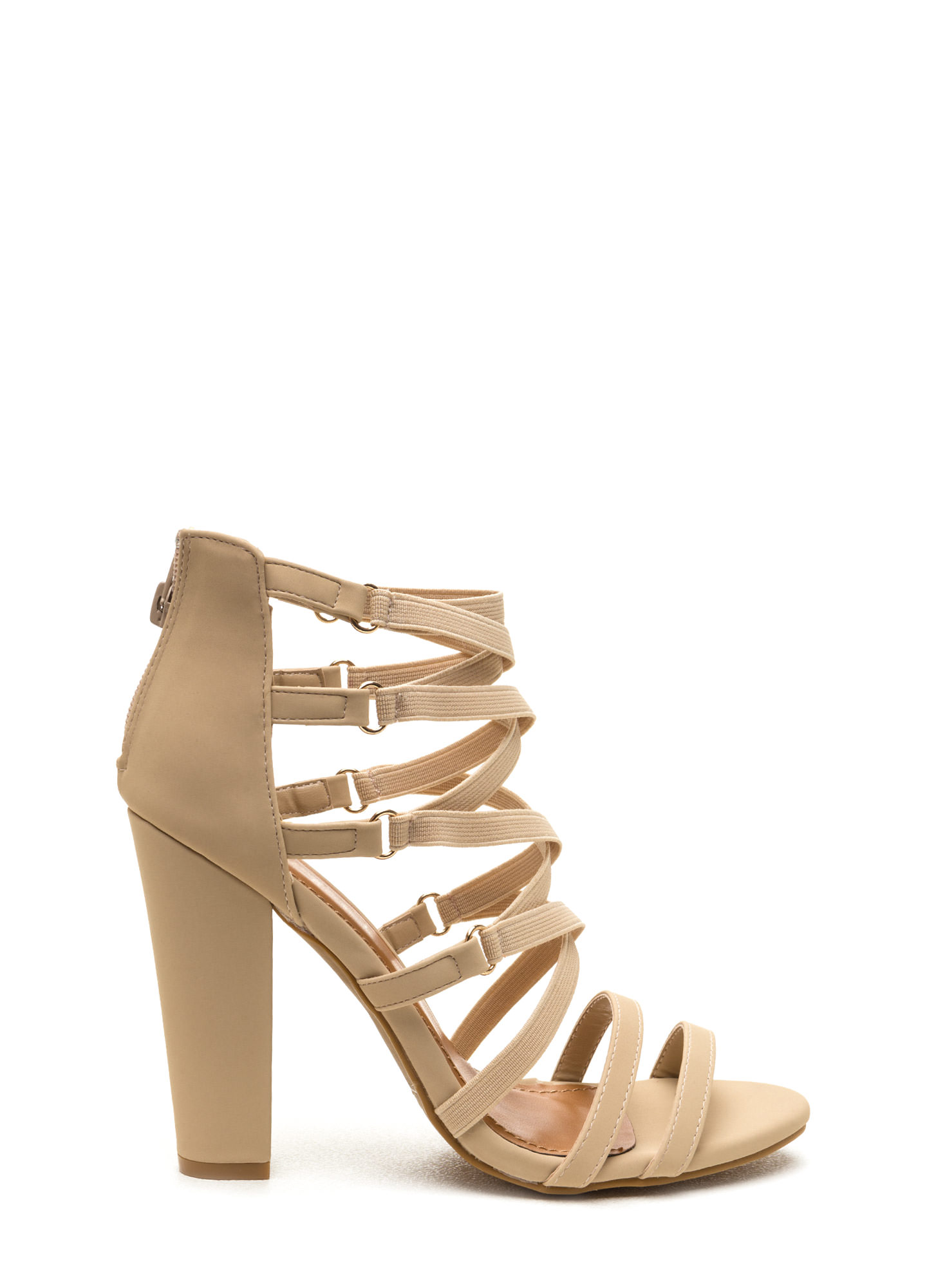 Crisscross Off Strappy Chunky Heels NUDE