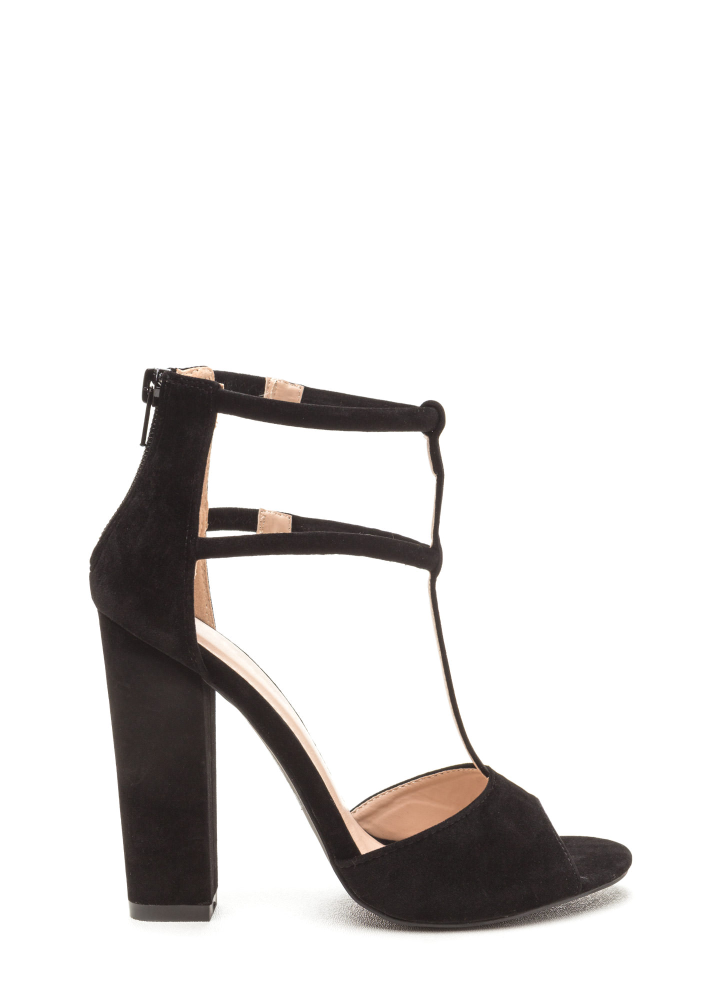 All Night Long Chunky Caged Heels BLACK