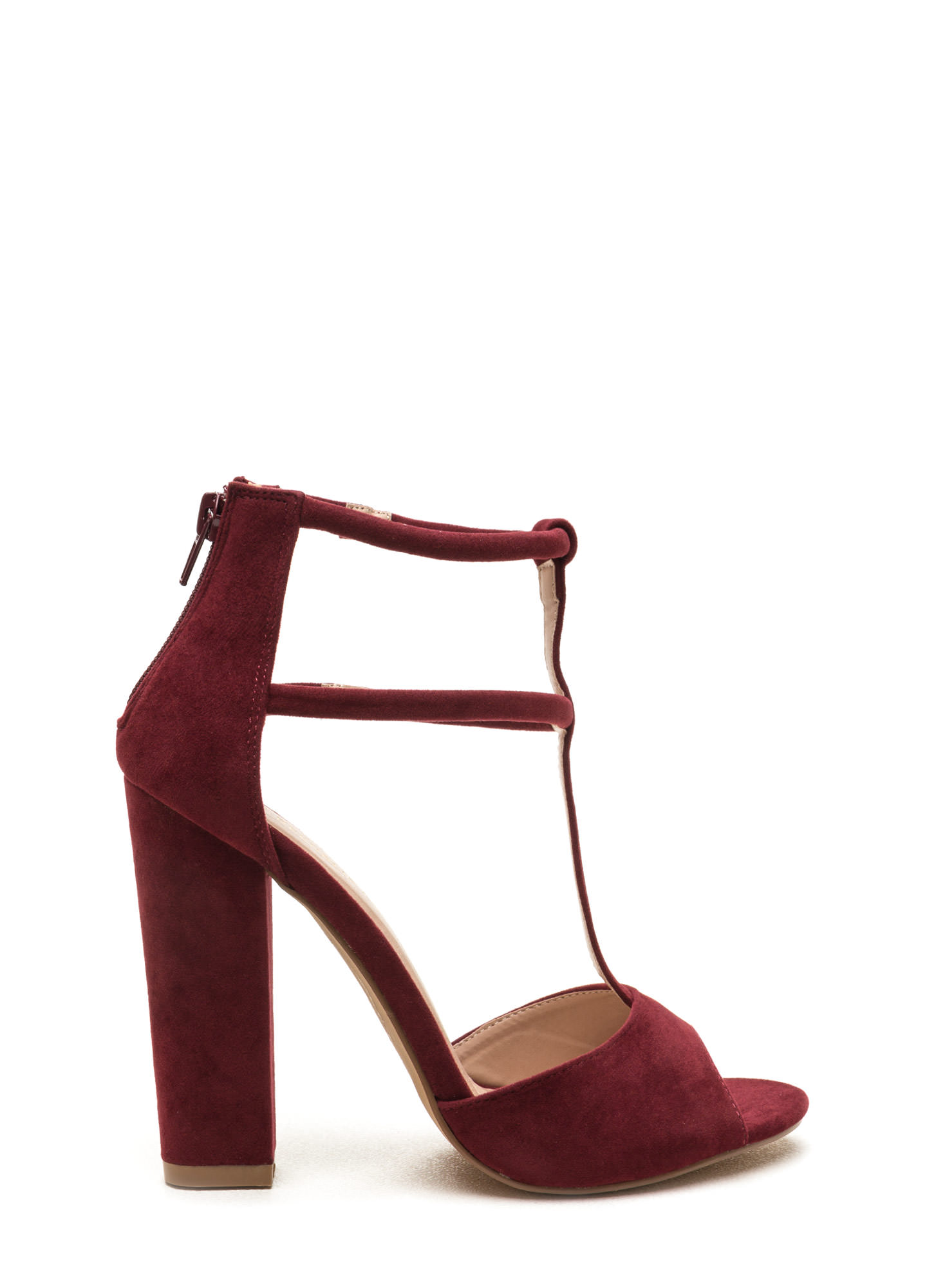 All Night Long Chunky Caged Heels BURGUNDY