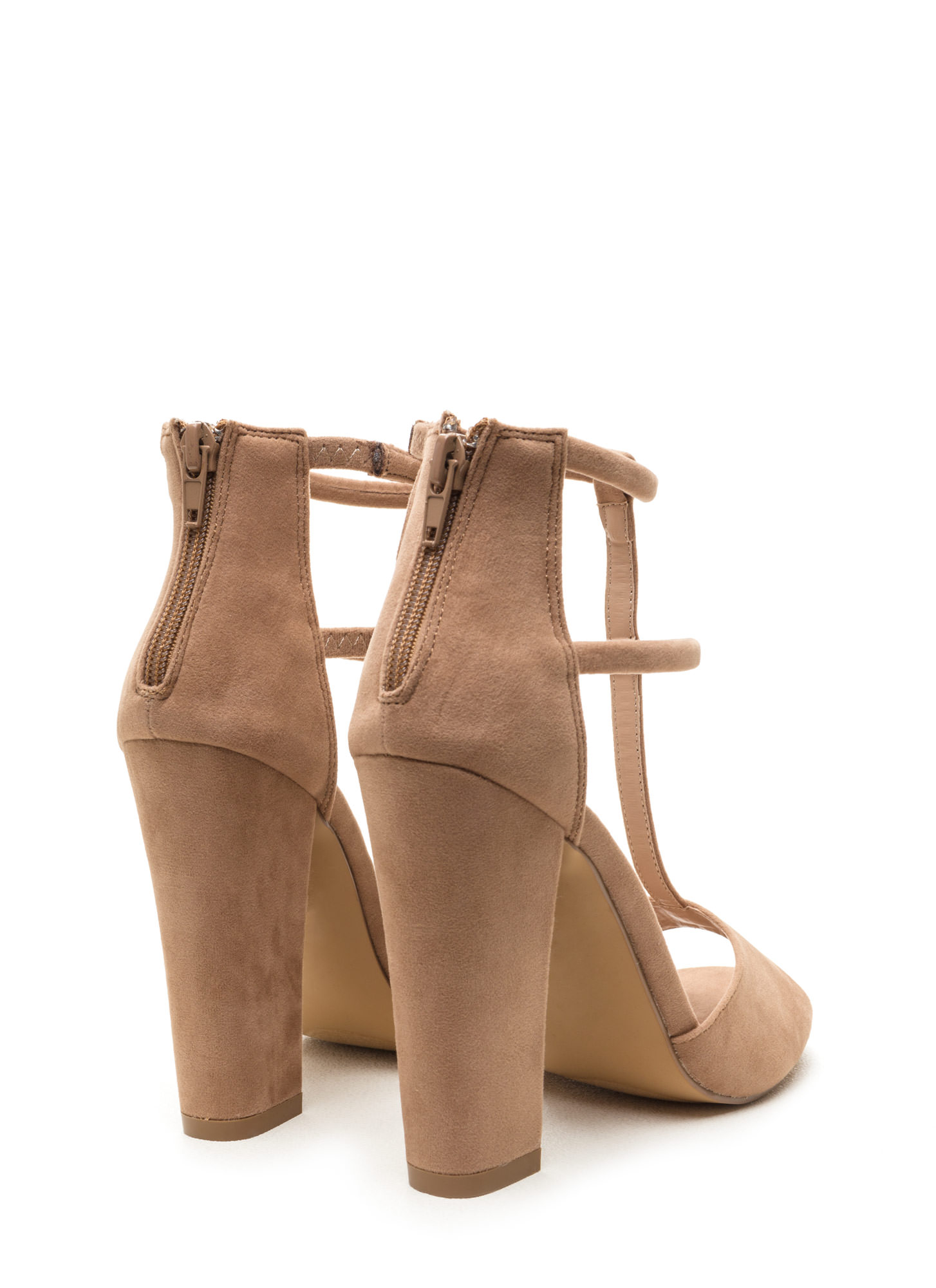 All Night Long Chunky Caged Heels TAUPE