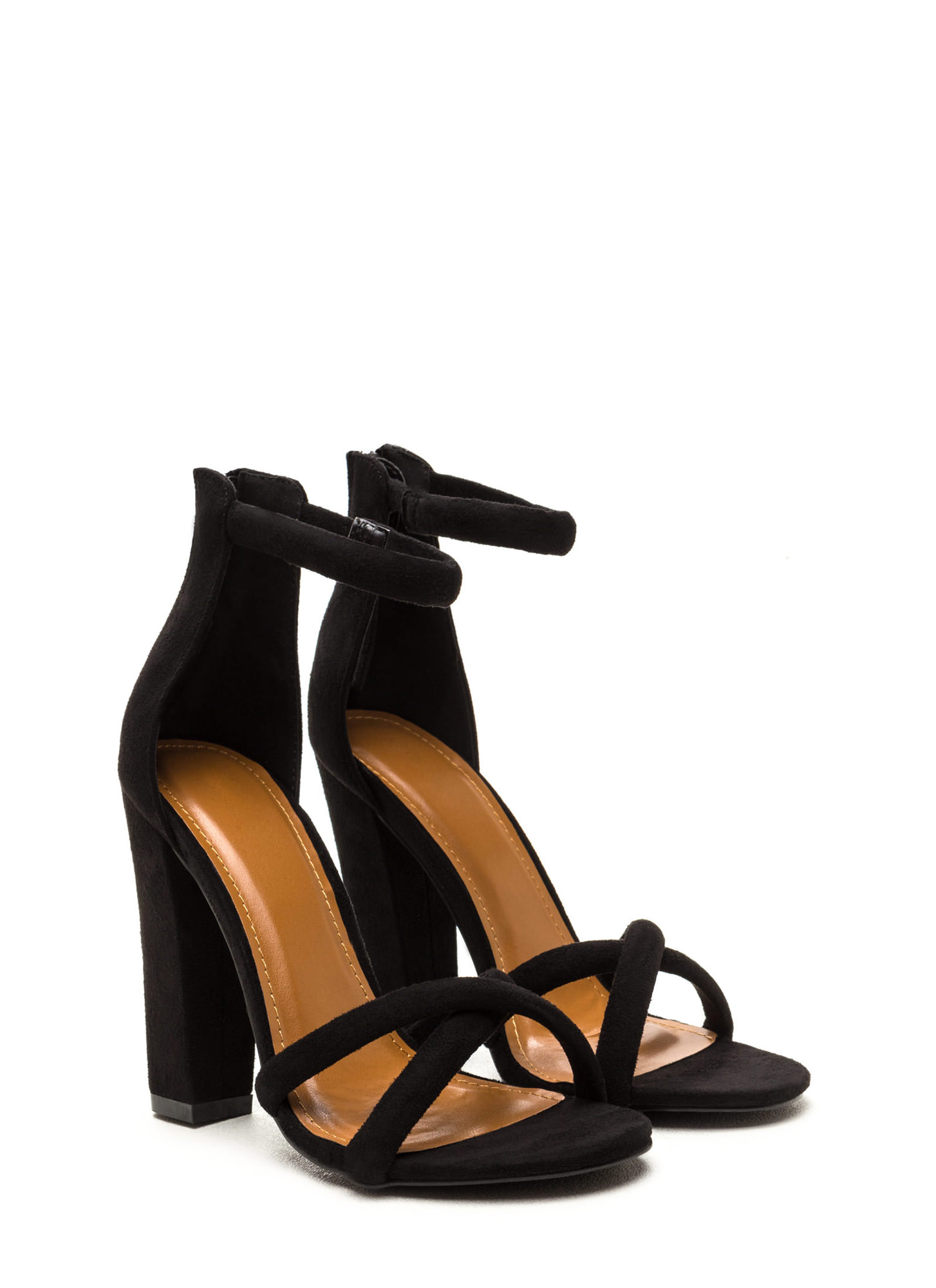 X Game Faux Suede Chunky Heels BLACK