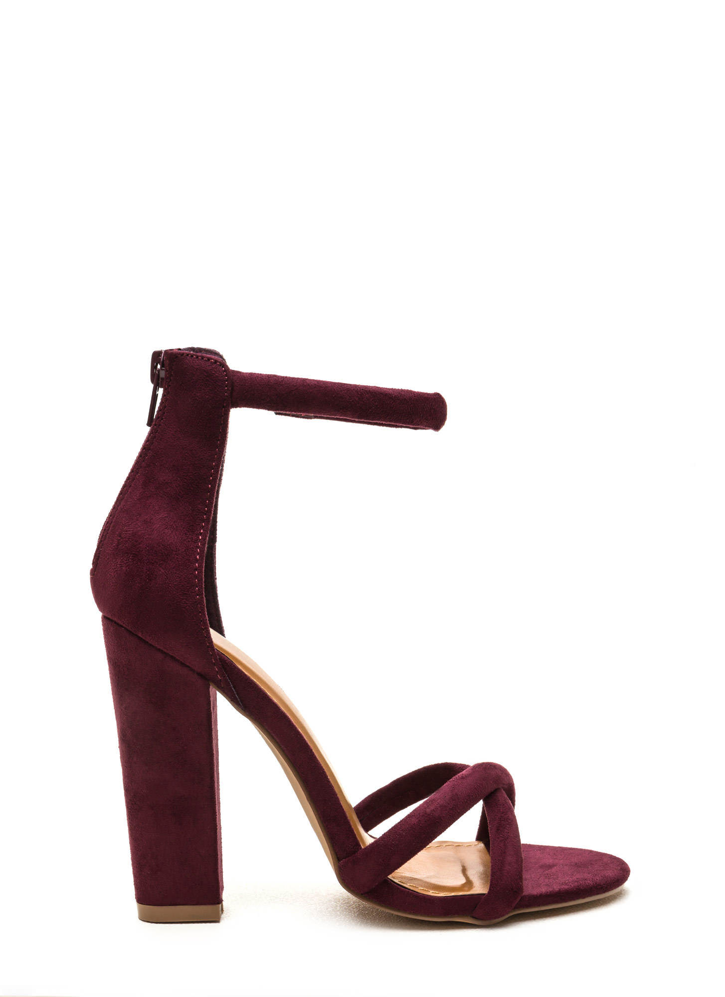 X Game Faux Suede Chunky Heels BURGUNDY