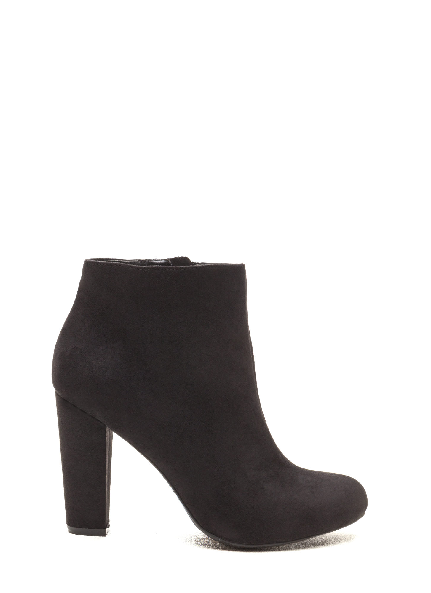 Major Muse Chunky Faux Suede Booties BLACK