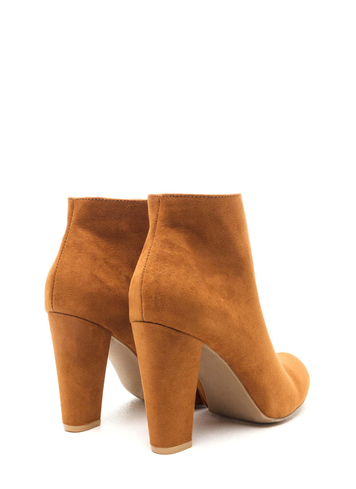 Major Muse Chunky Faux Suede Booties CHESTNUT