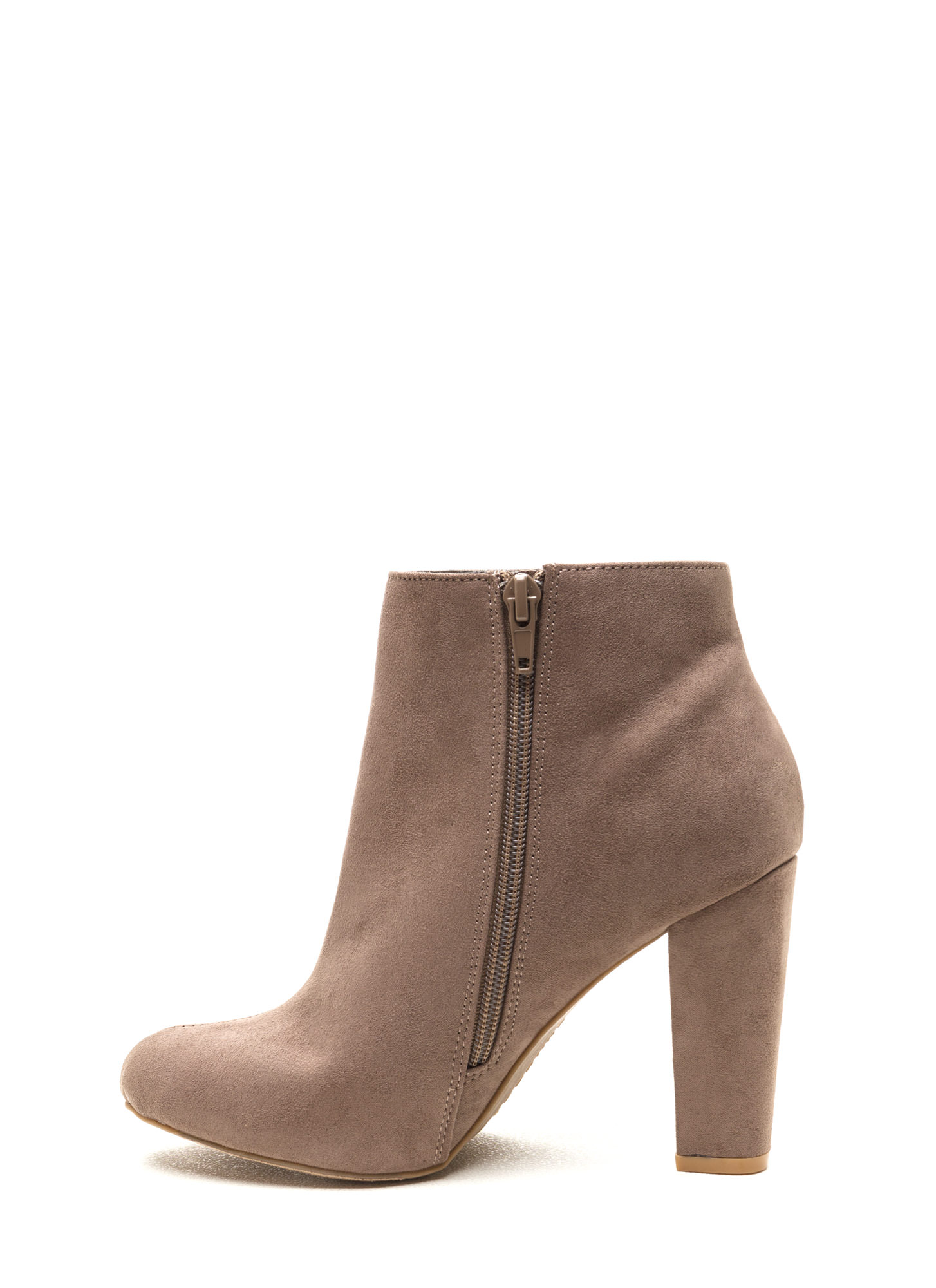 Major Muse Chunky Faux Suede Booties TAUPE