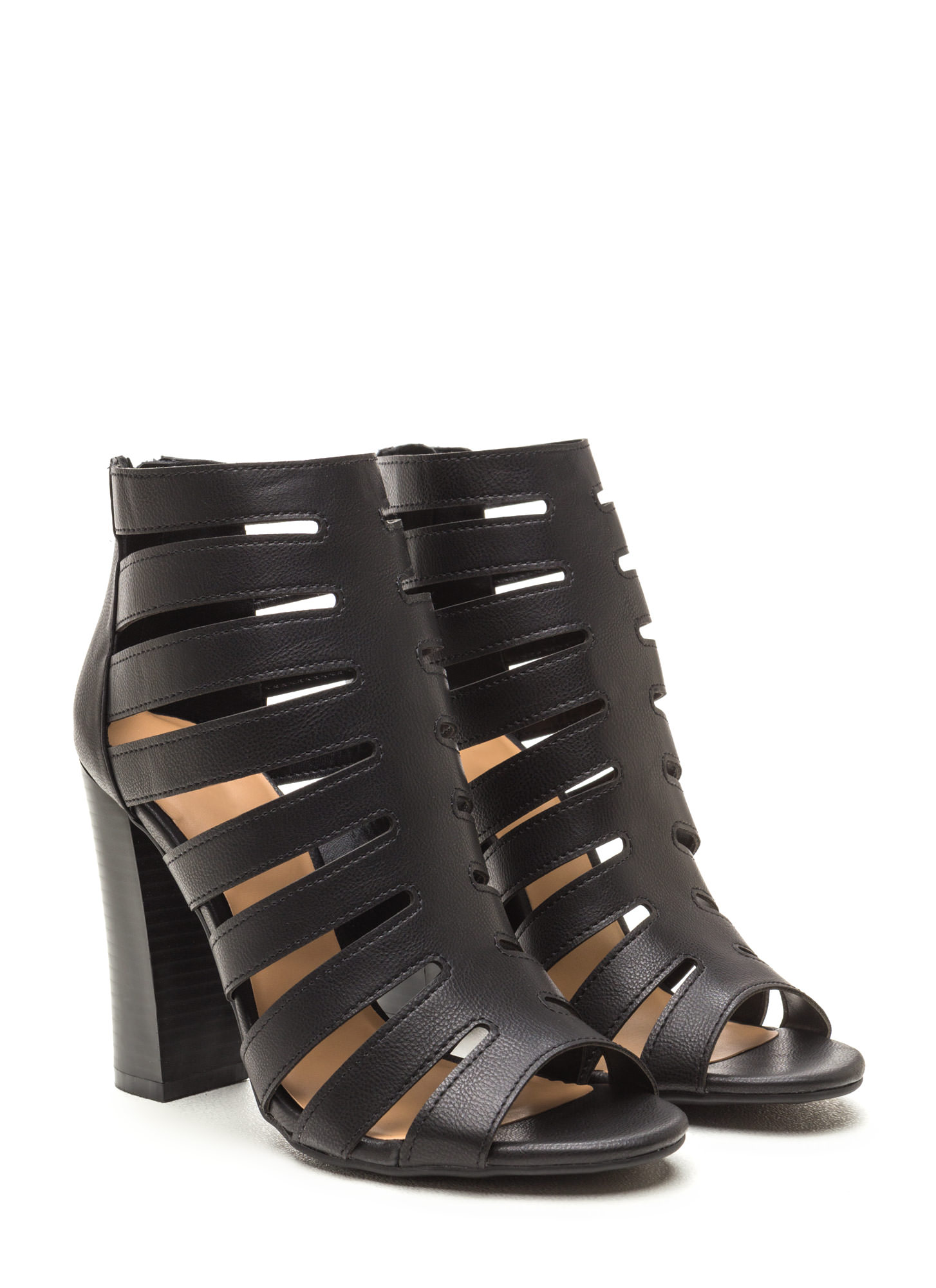 Hold Your Gaze Caged Chunky Heels BLACK