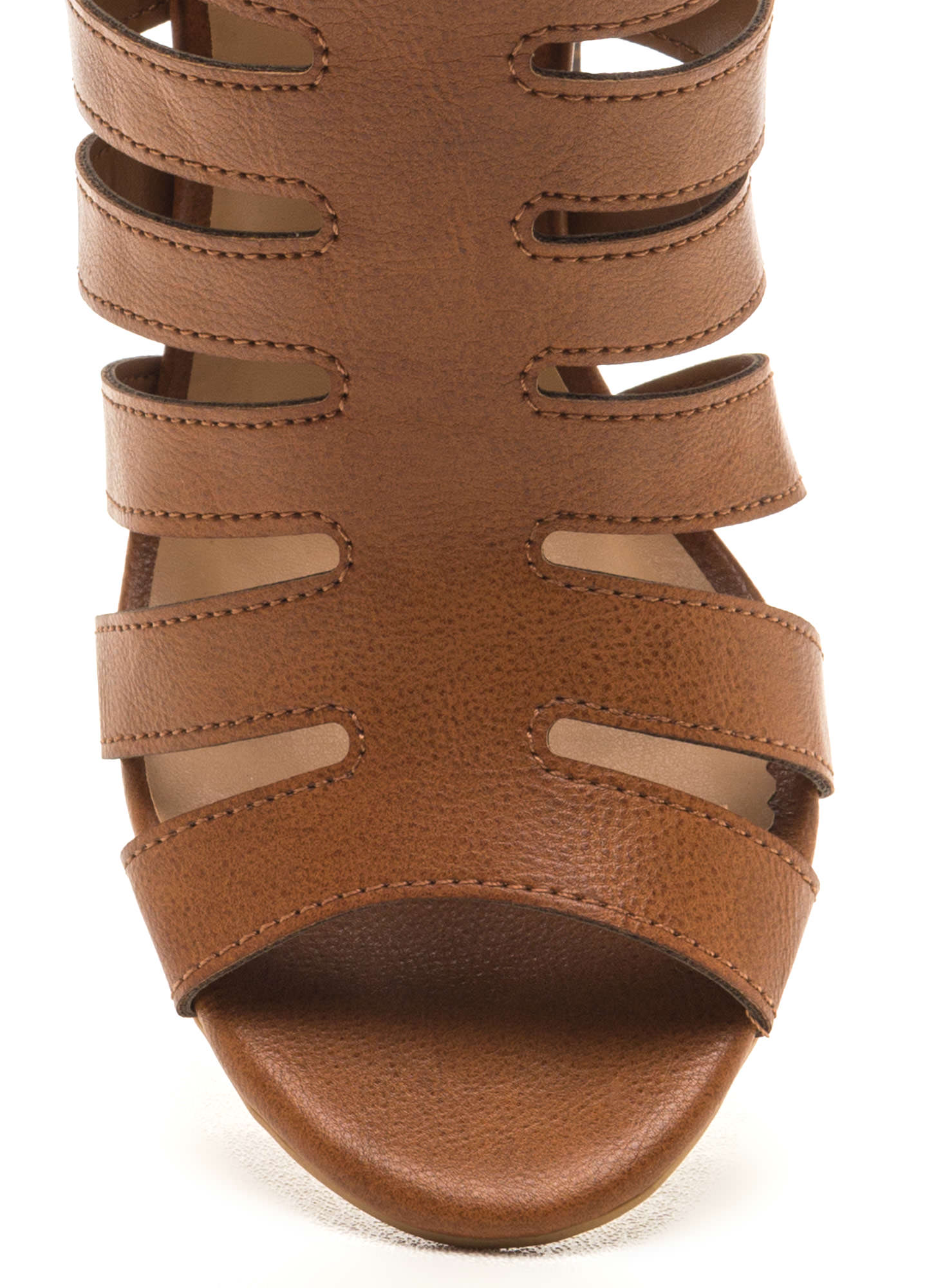 Hold Your Gaze Caged Chunky Heels CHESTNUT