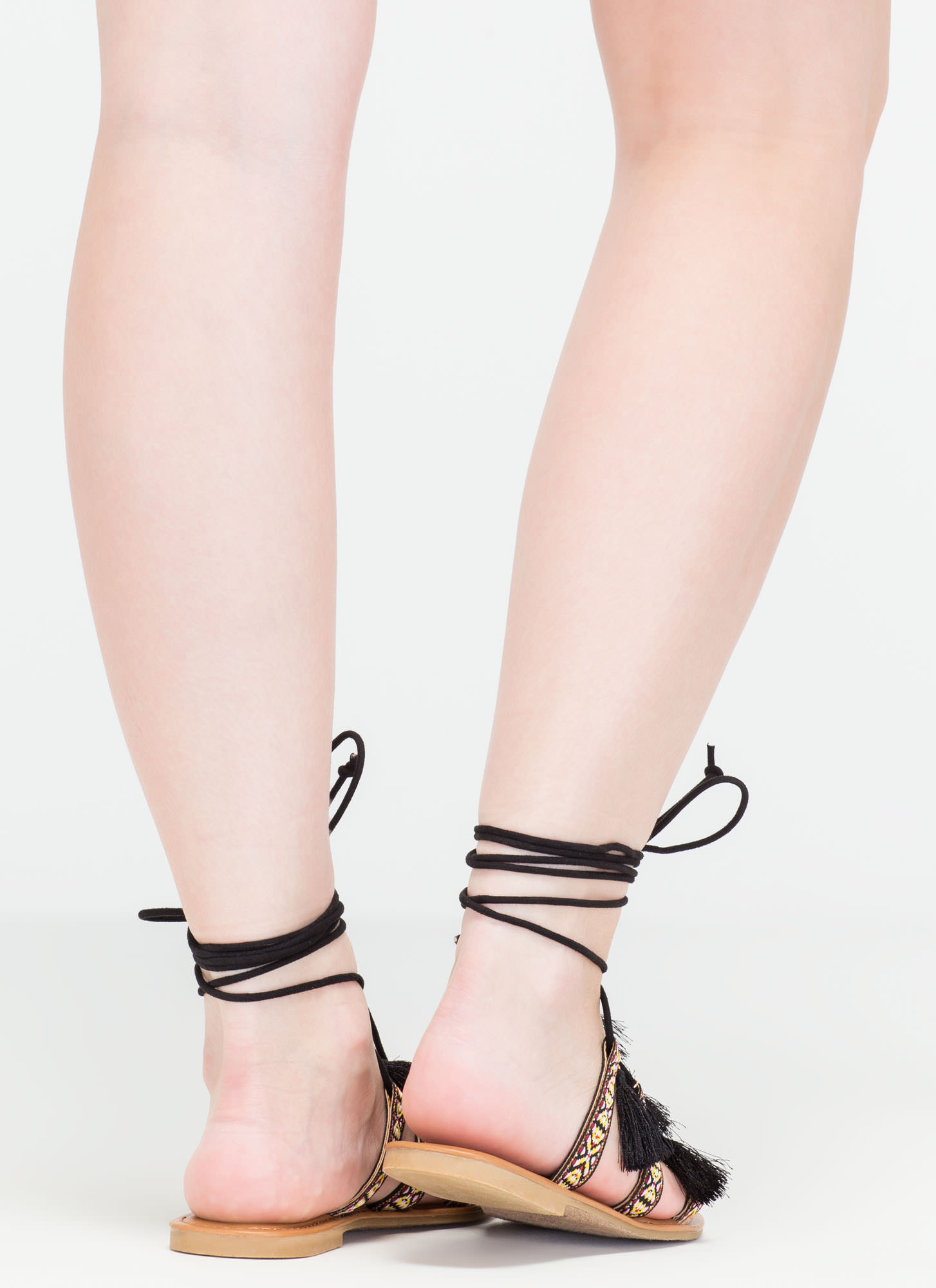 Mythical Land Woven Lace-Up Sandals BLACK