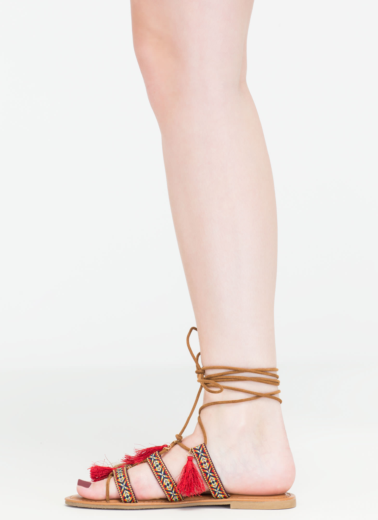 Mythical Land Woven Lace-Up Sandals TAN