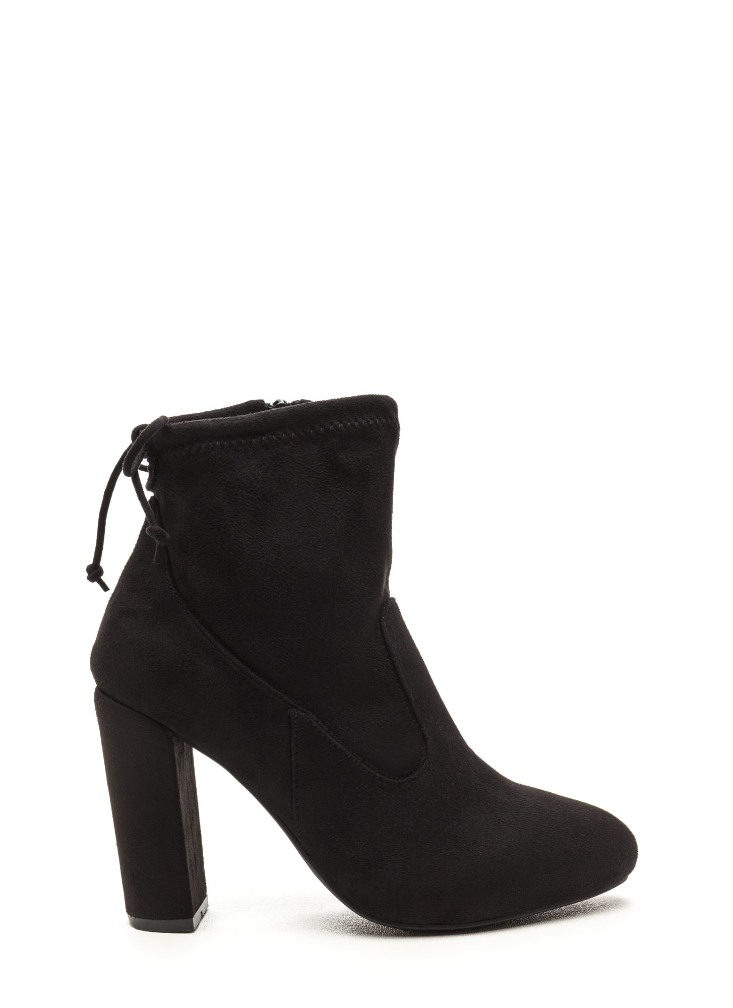Key To Great Style Chunky Tied Booties BLACK