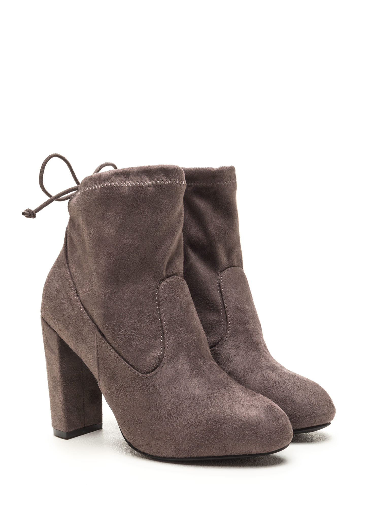Key To Great Style Chunky Tied Booties GREY