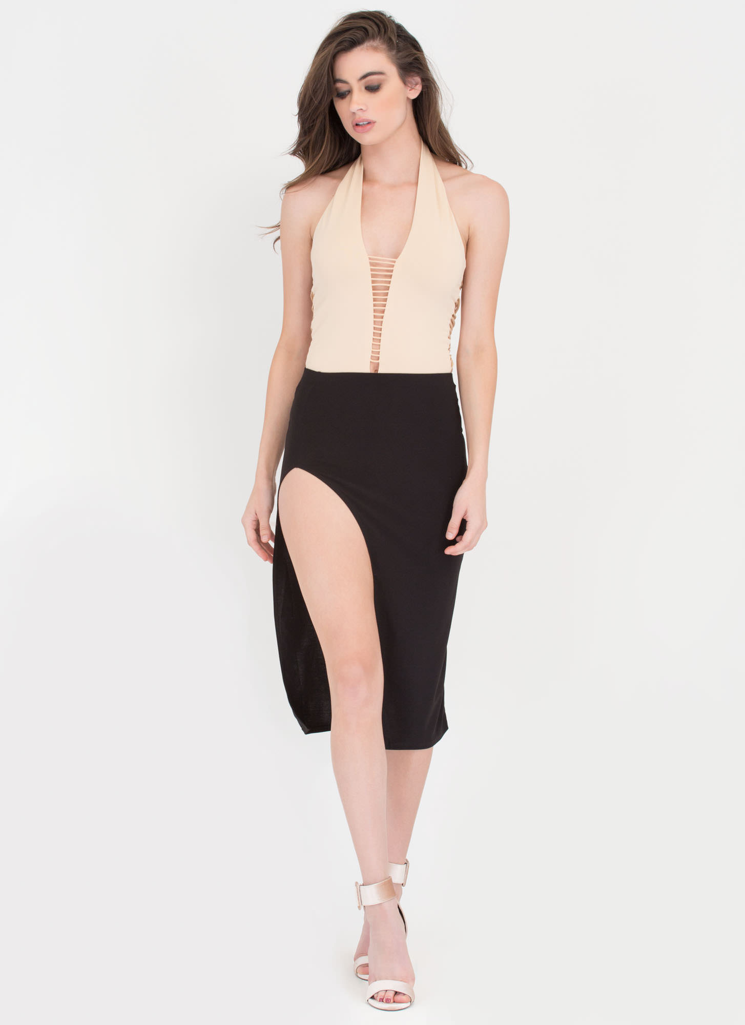 Band Together Strappy Halter Bodysuit NUDE