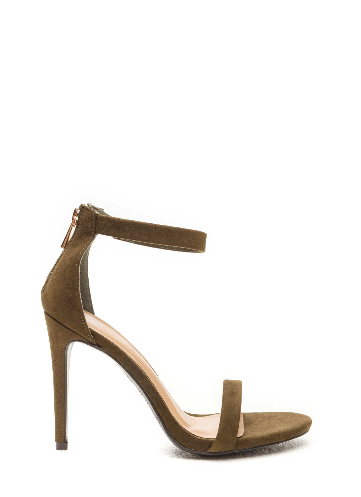 Simple Statement Faux Suede Heels OLIVE