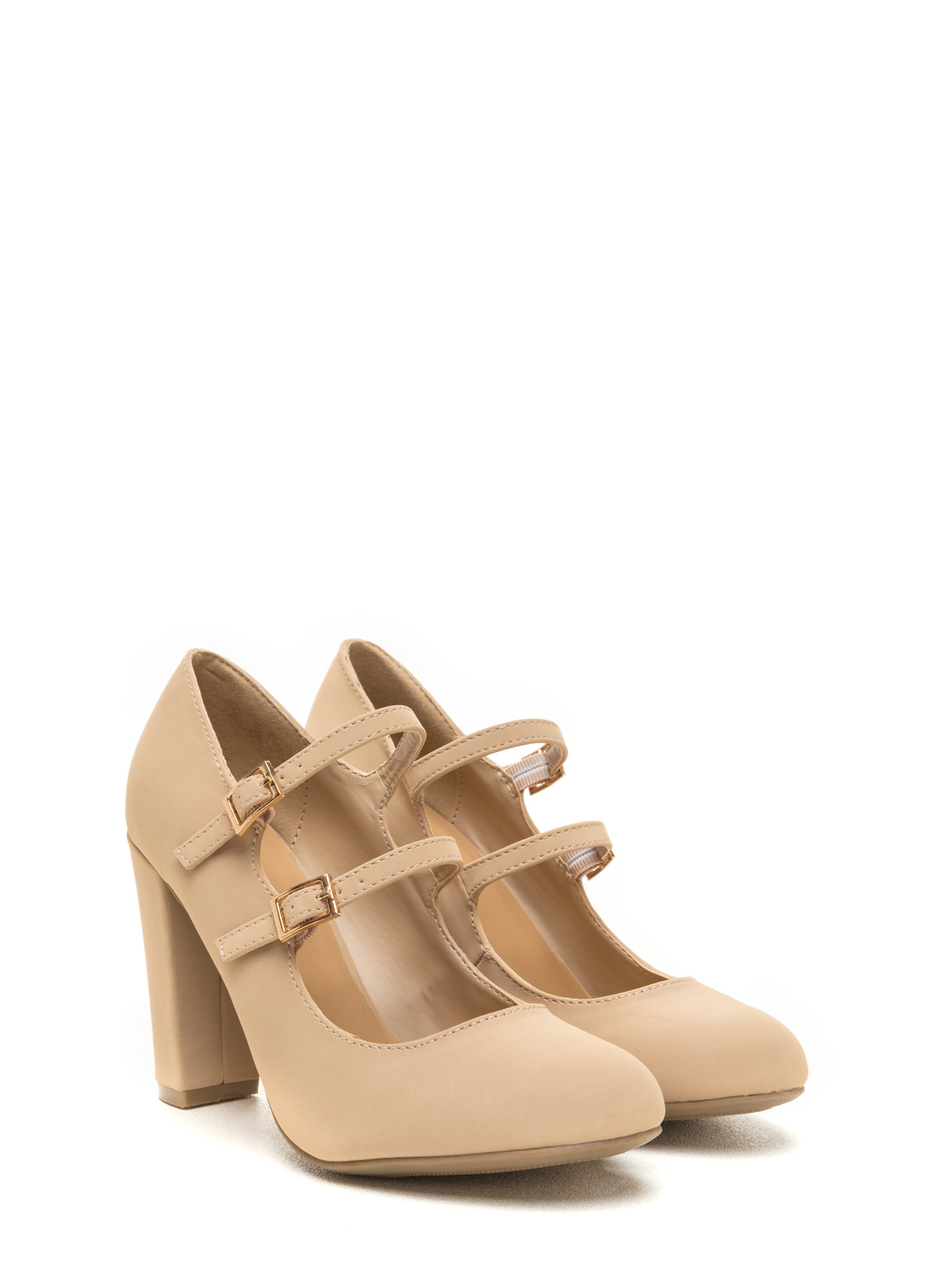 Double Trouble Chunky Mary Jane Heels NUDE