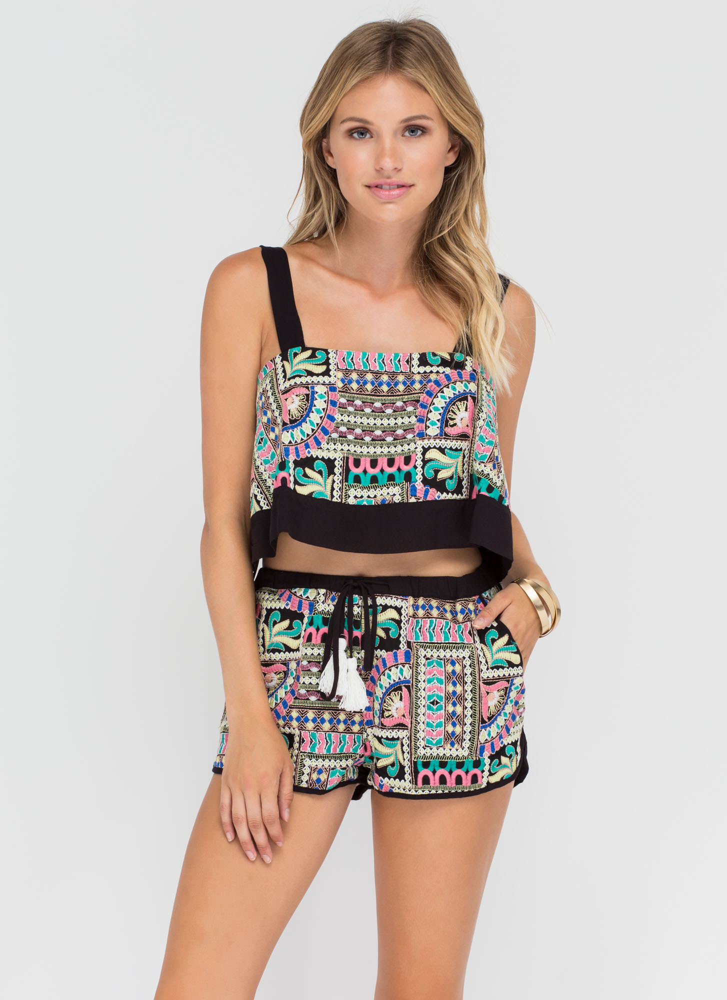 Festival Fave Embroidered Two-Piece Set BLACK
