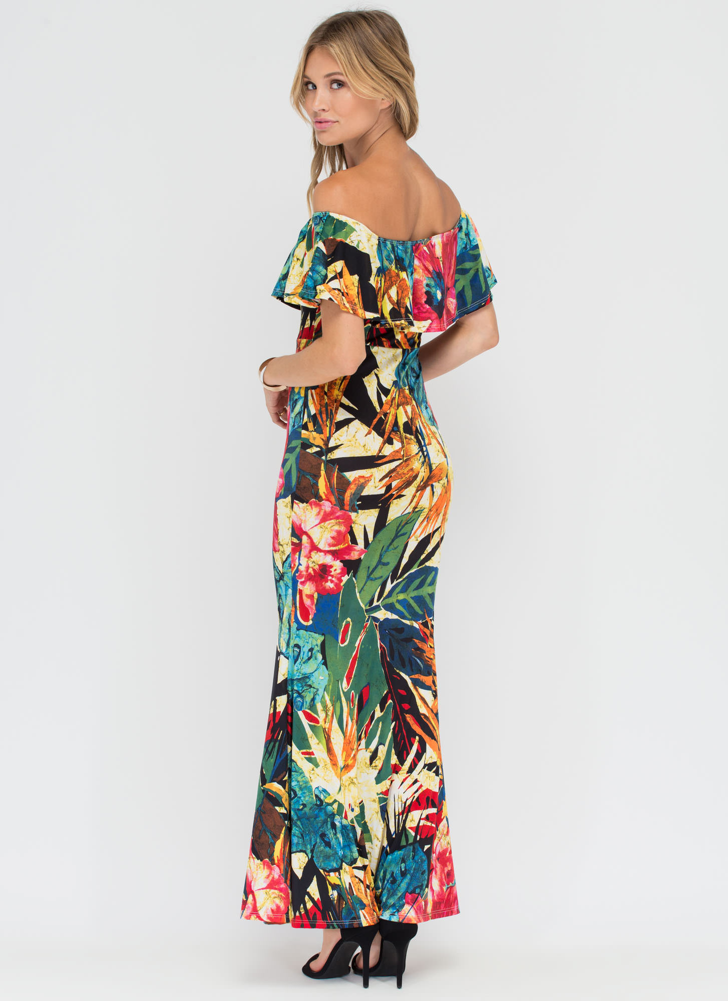 Leaf It To Us Off-Shoulder Maxi Dress YELLOW