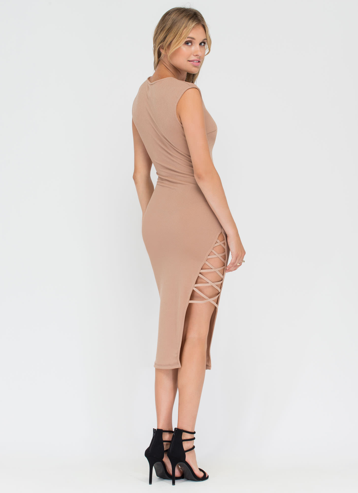 X Games Strappy Slit Midi Dress TAUPE