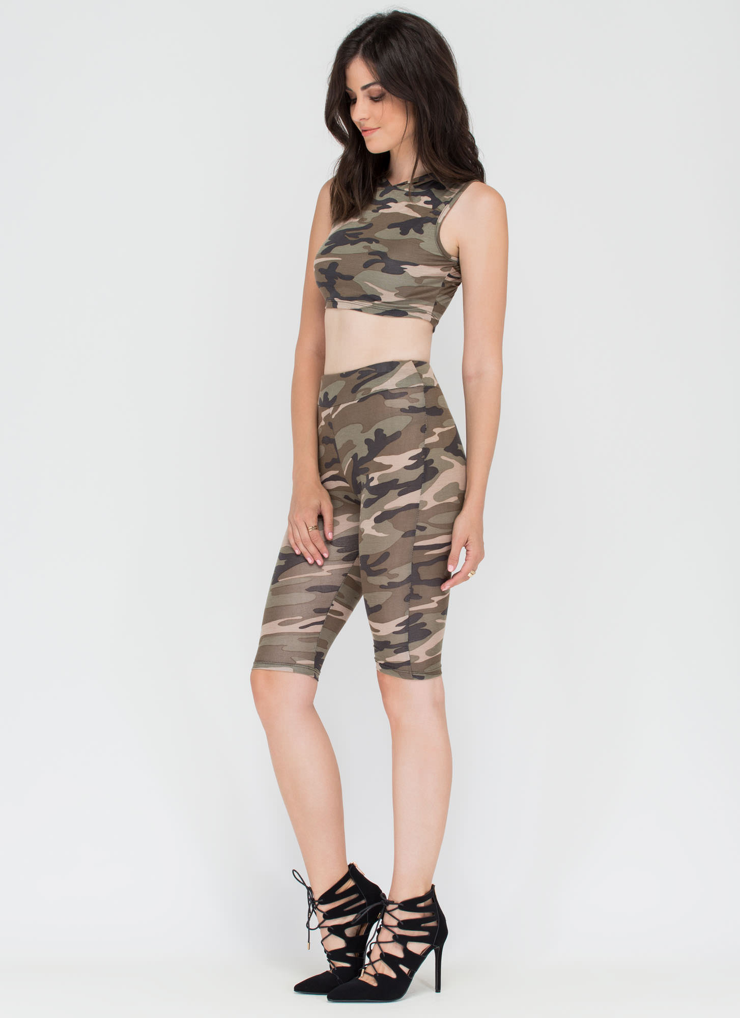 On A Mission Camo Crop Top 'N Shorts Set CAMOUFLAGE