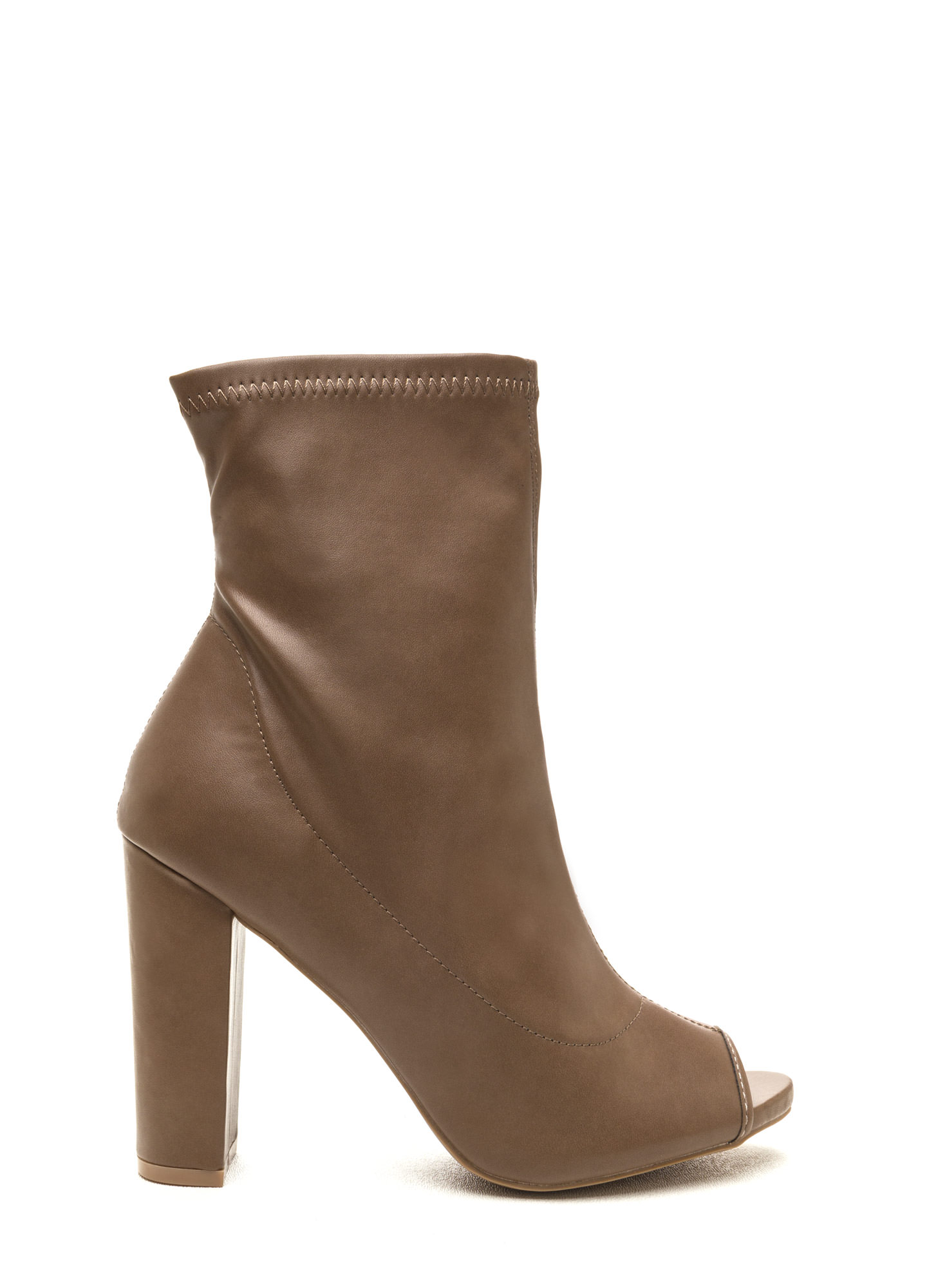 Uptown Chic Chunky Peep-Toe Booties TAUPE