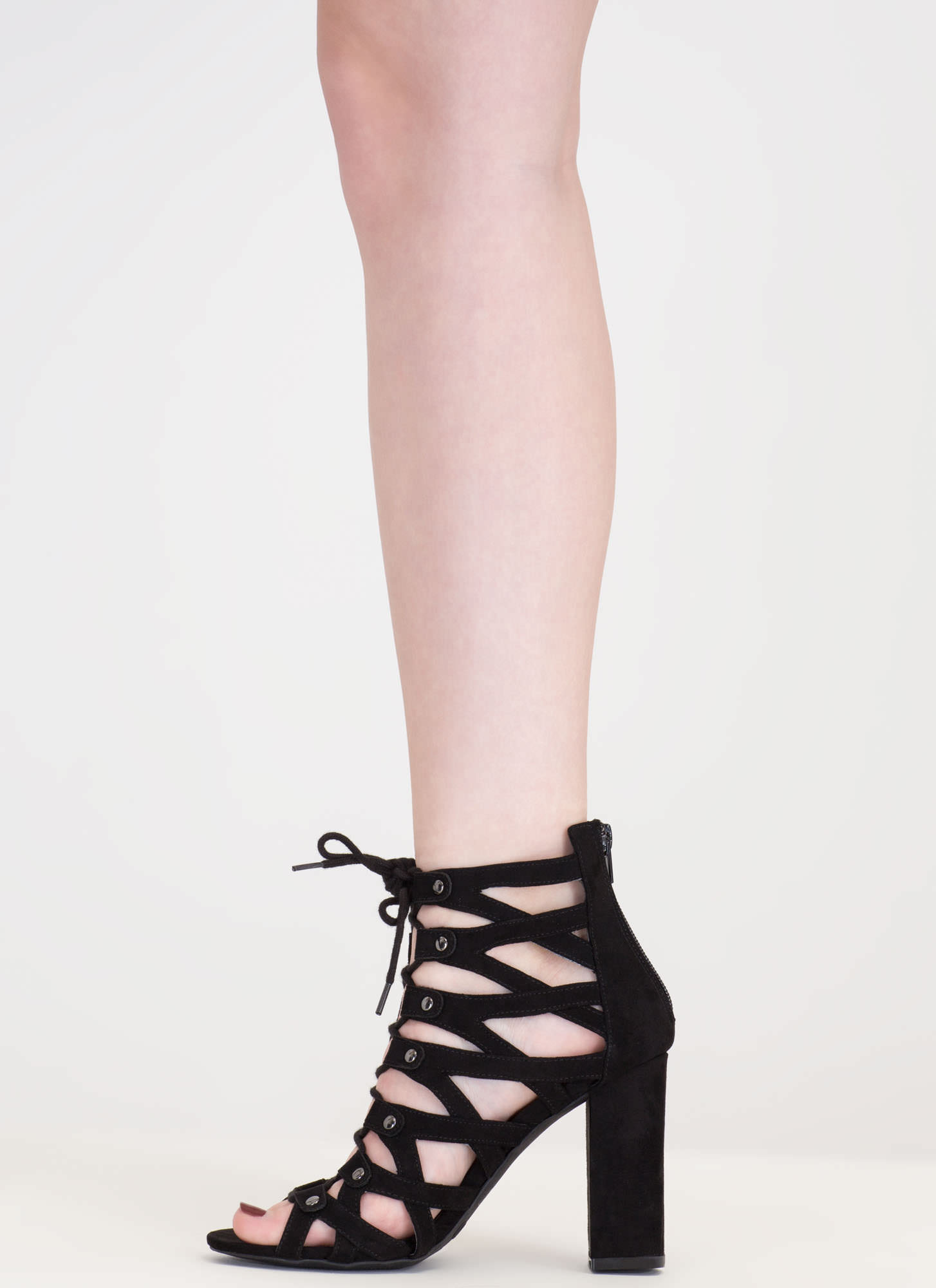 Dreamy Discovery Caged Chunky Heels BLACK