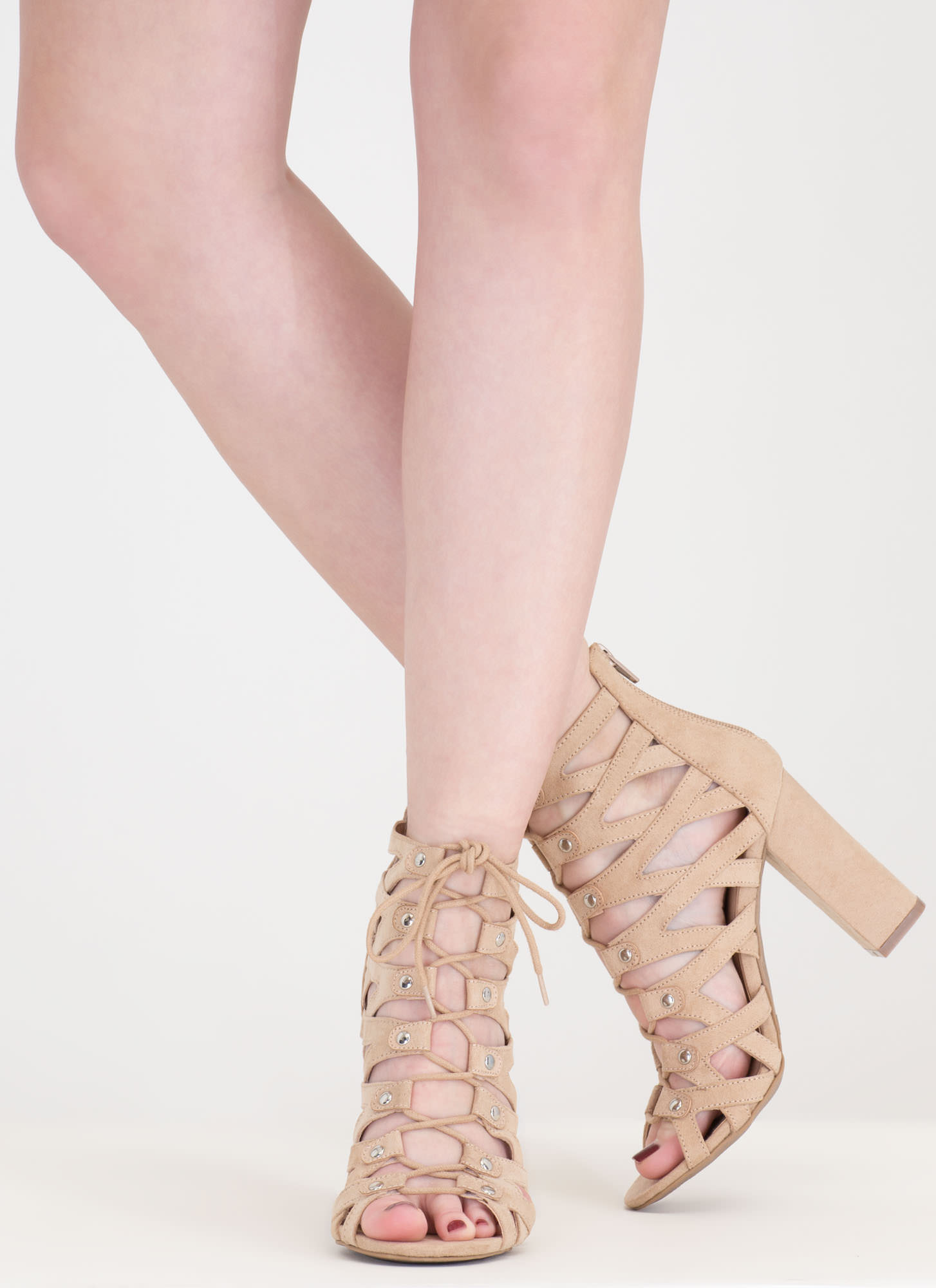 Dreamy Discovery Caged Chunky Heels NATURAL