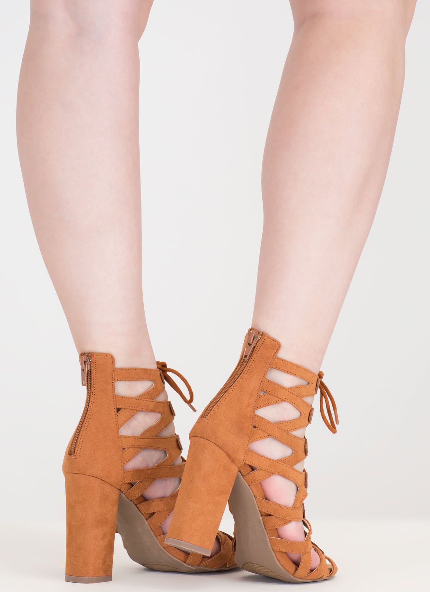 Dreamy Discovery Caged Chunky Heels WHISKY