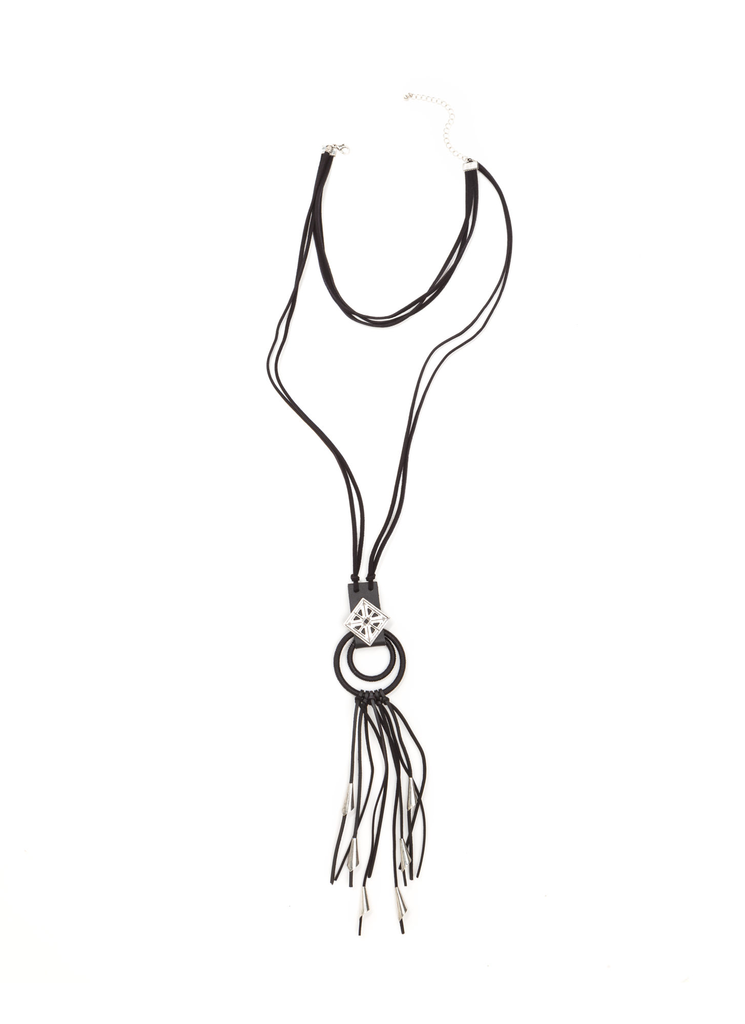 Ring Leader Fringed Cord Necklace SILVERBLACK