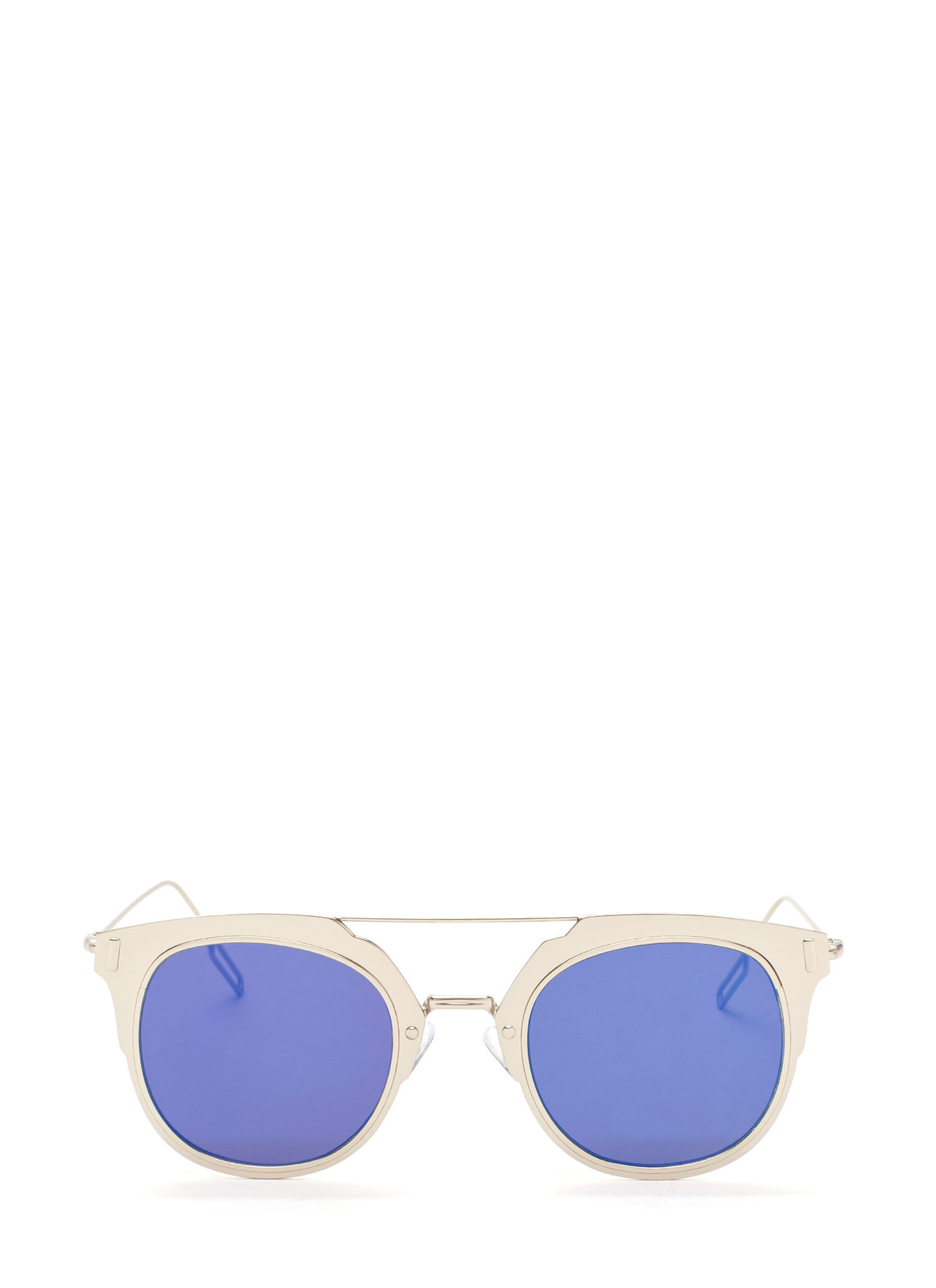 Hollywood Star Metallic Sunglasses SILVERBLUE