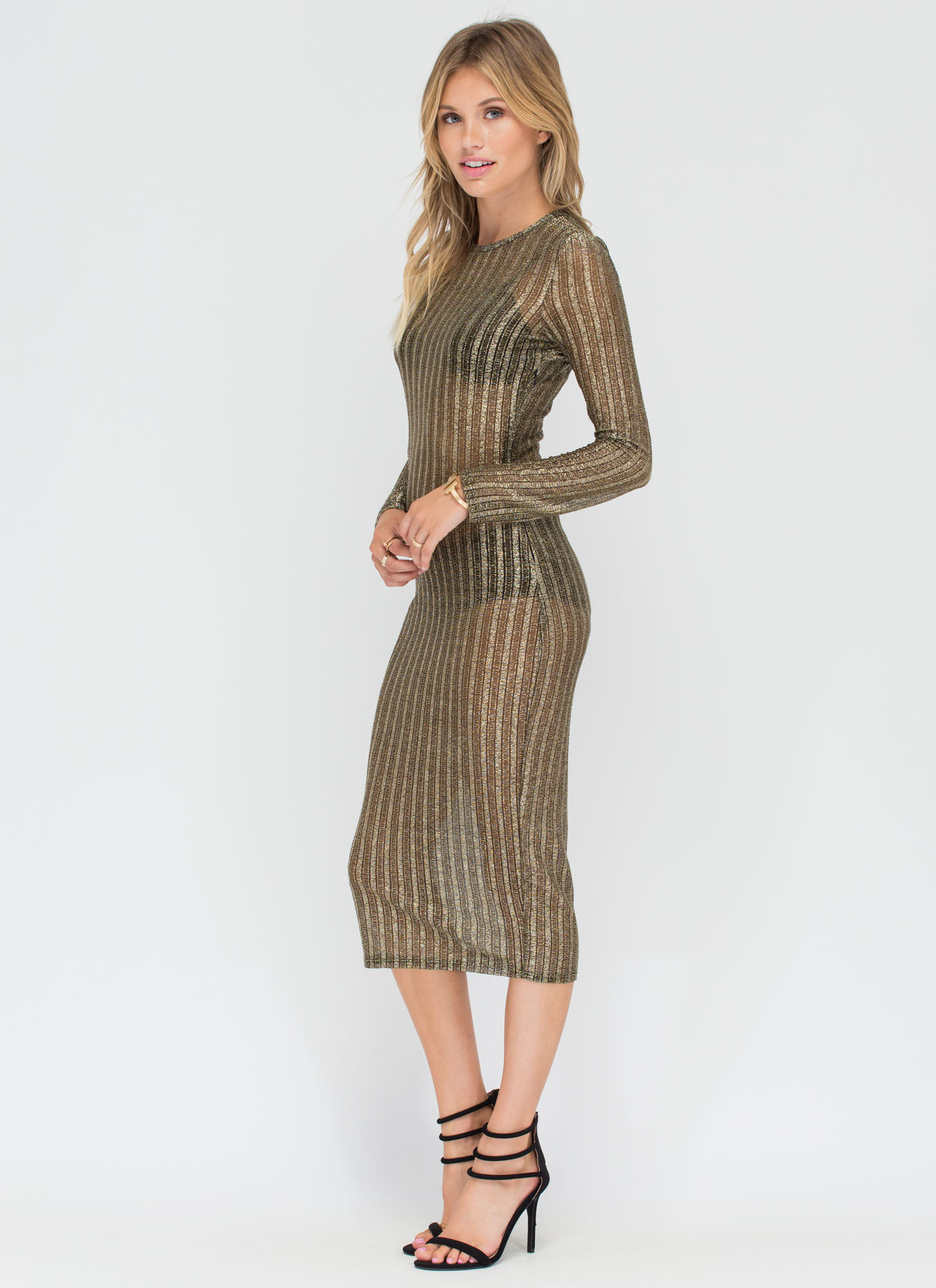 Out Of The Box Sheer Metallic Midi Dress GOLD