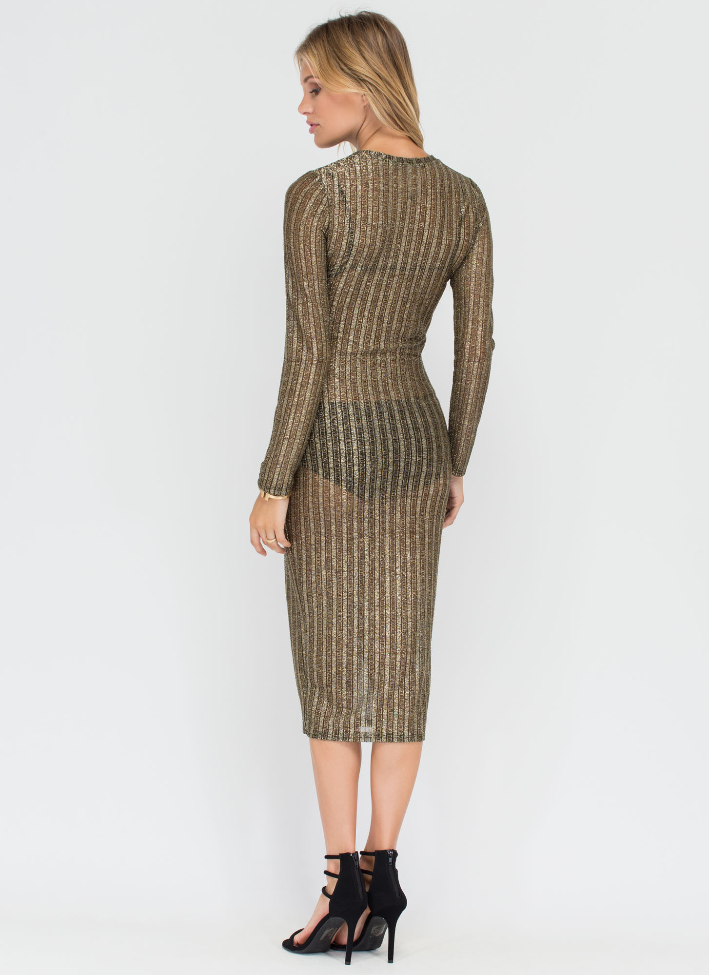 Out Of The Box Sheer Metallic Midi Dress GOLD (Final Sale)