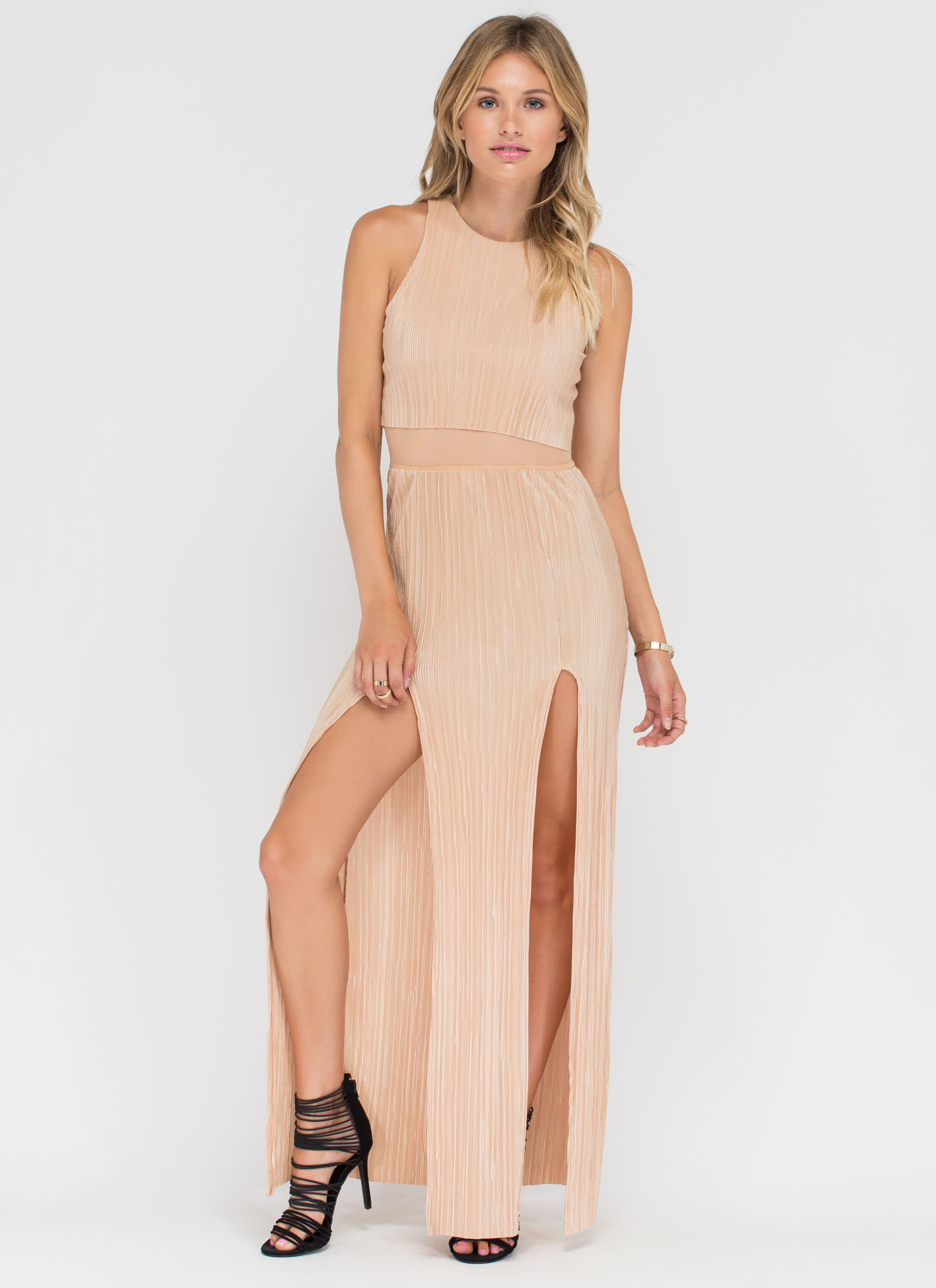 Grecian Goddess Pleated Double Slit Maxi GOLD