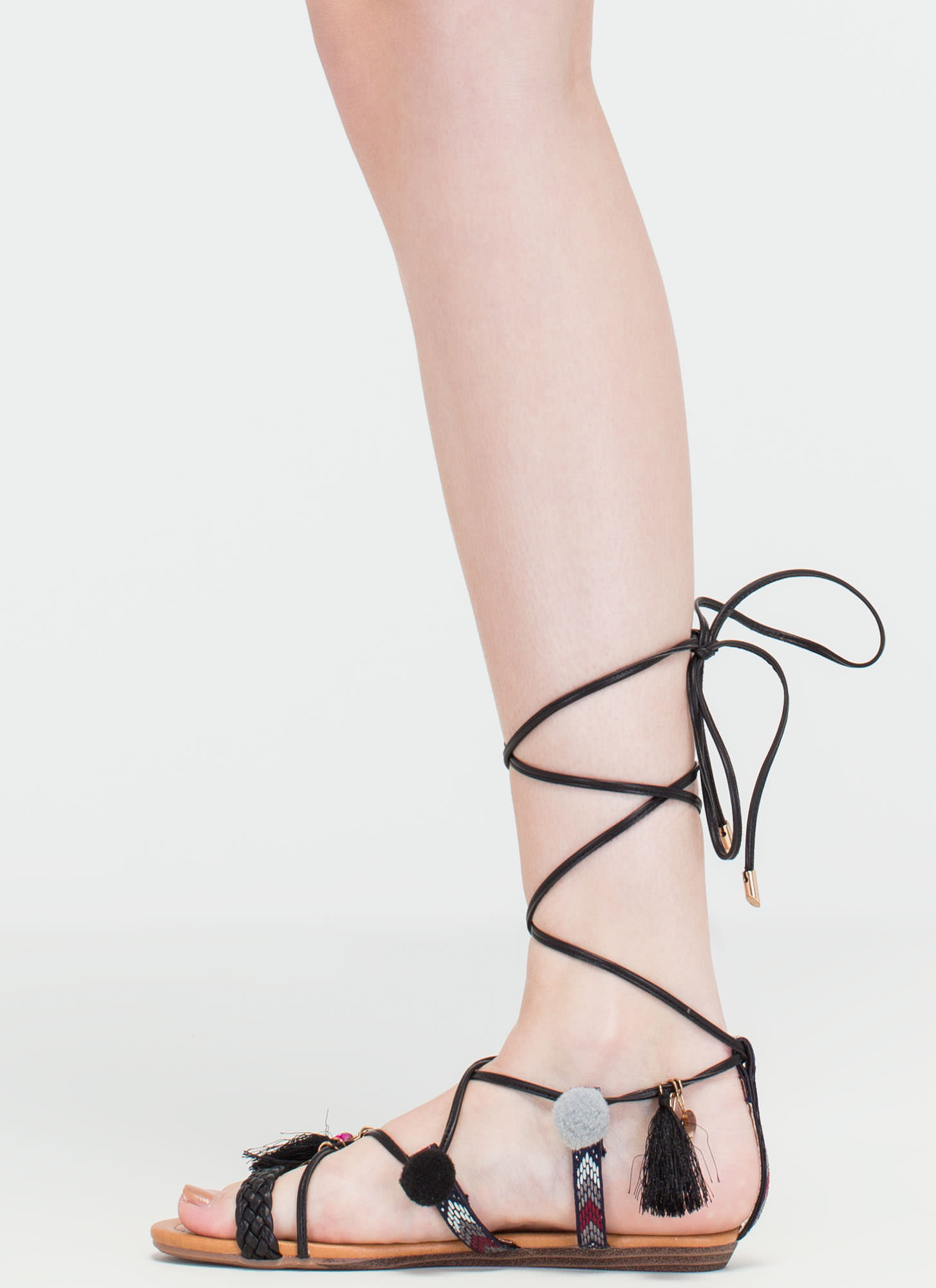 Just For Decoration Lace-Up Sandals BLACK