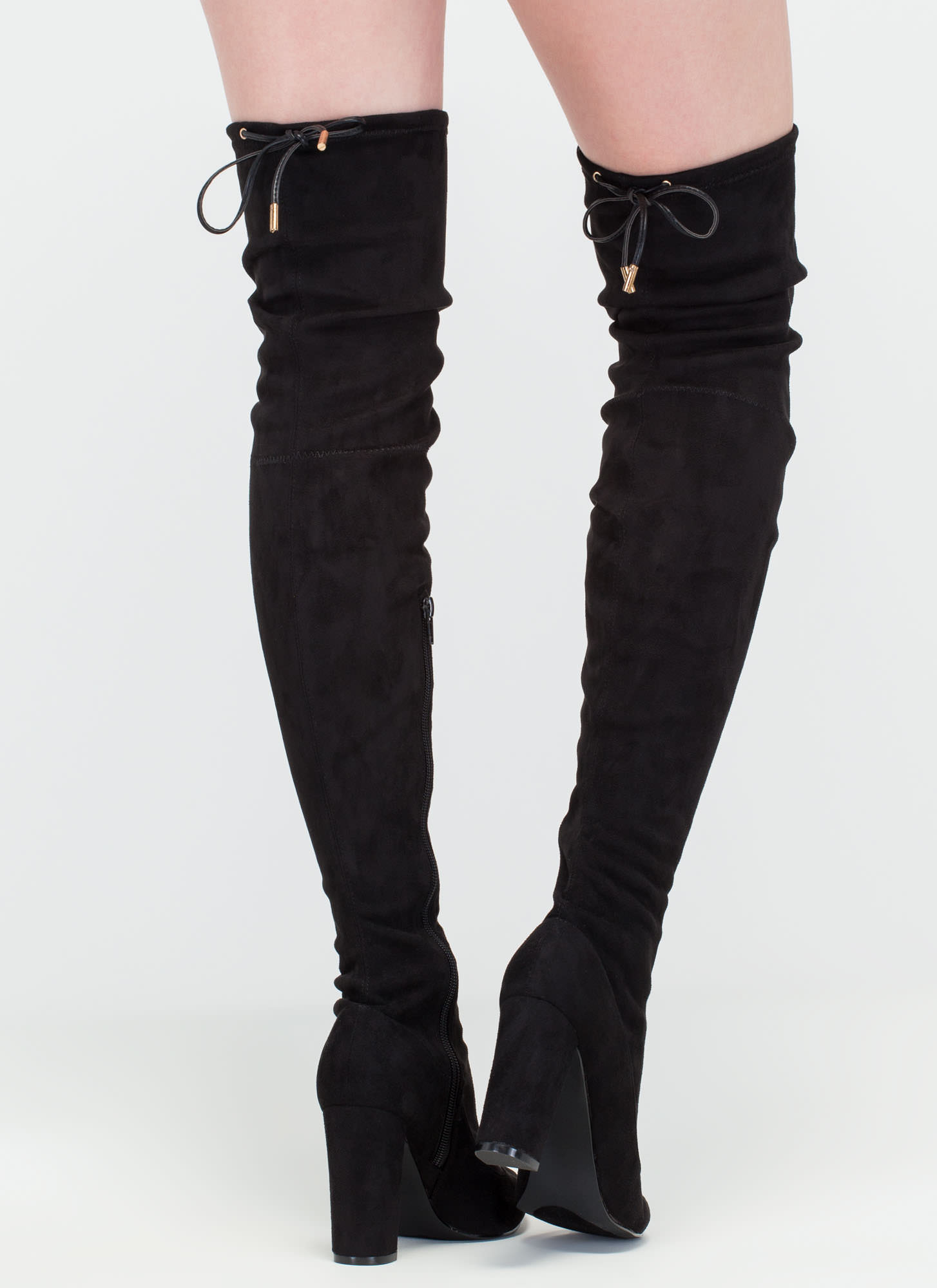 Luck Of The Drawstring Thigh-High Boots BLACK