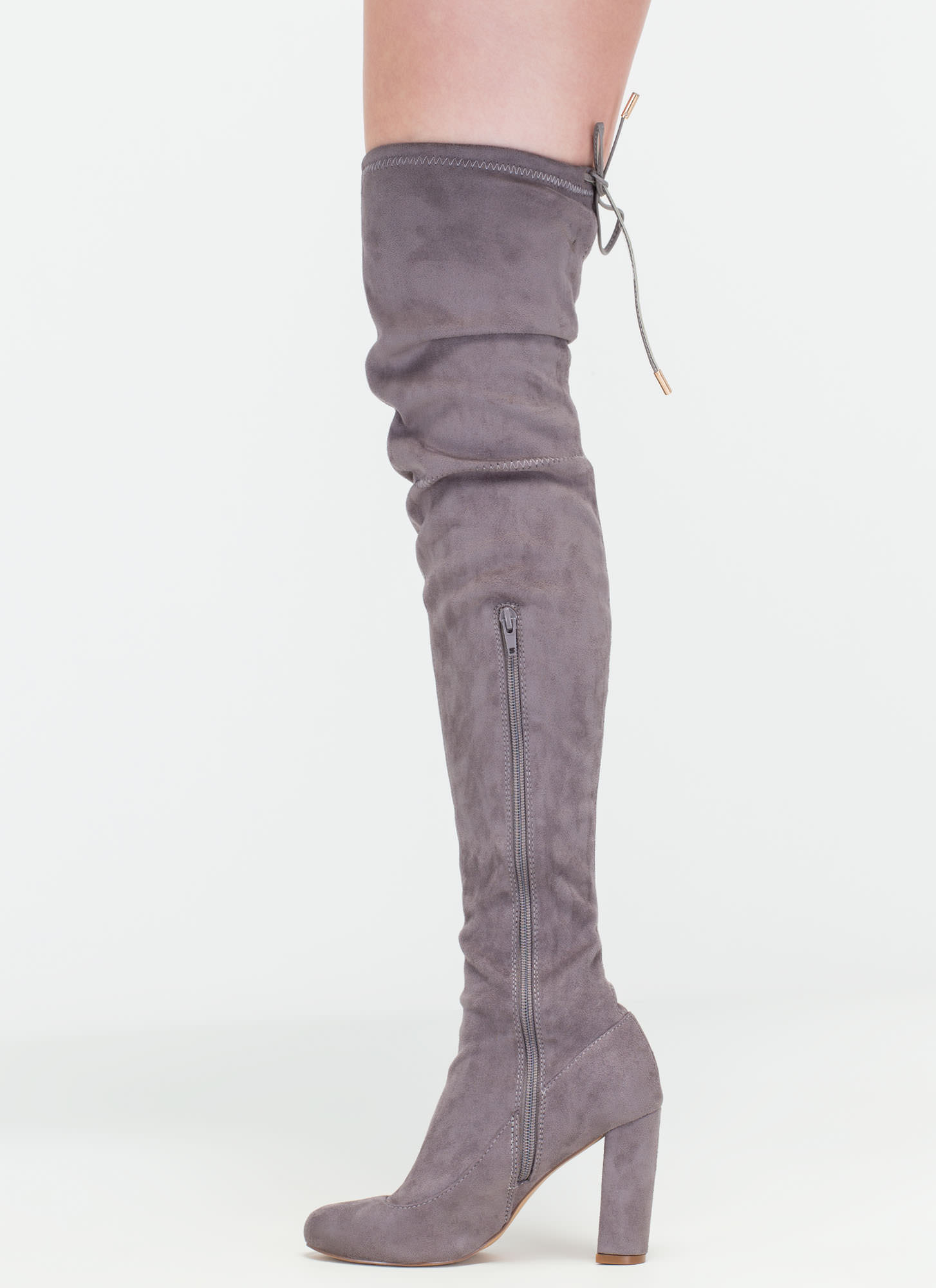 Luck Of The Drawstring Thigh-High Boots GREY