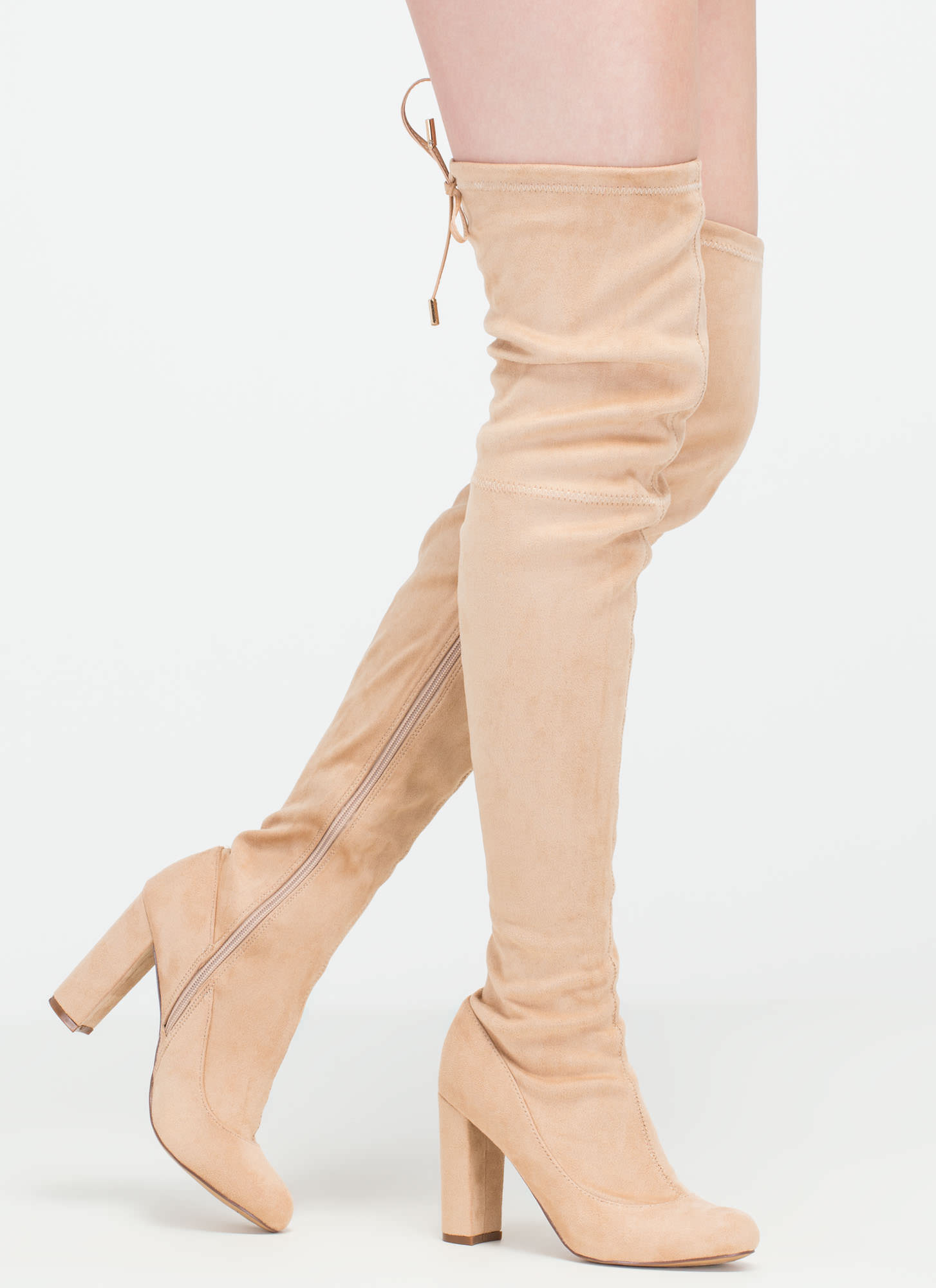 Luck Of The Drawstring Thigh-High Boots NUDE