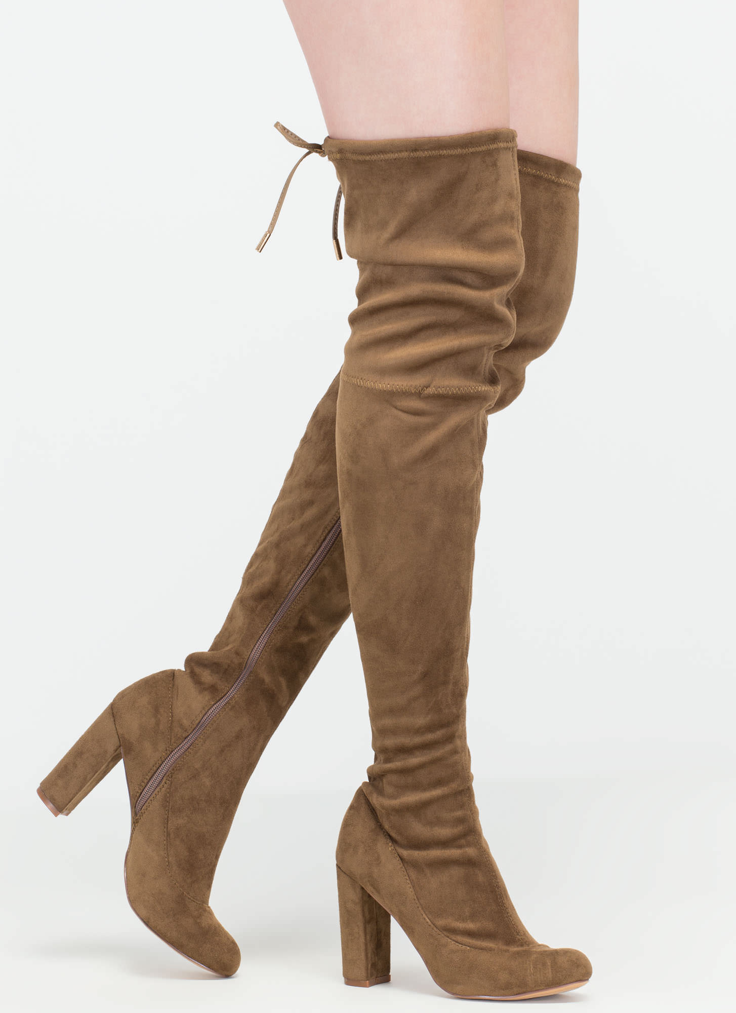 Luck Of The Drawstring Thigh-High Boots OLIVE