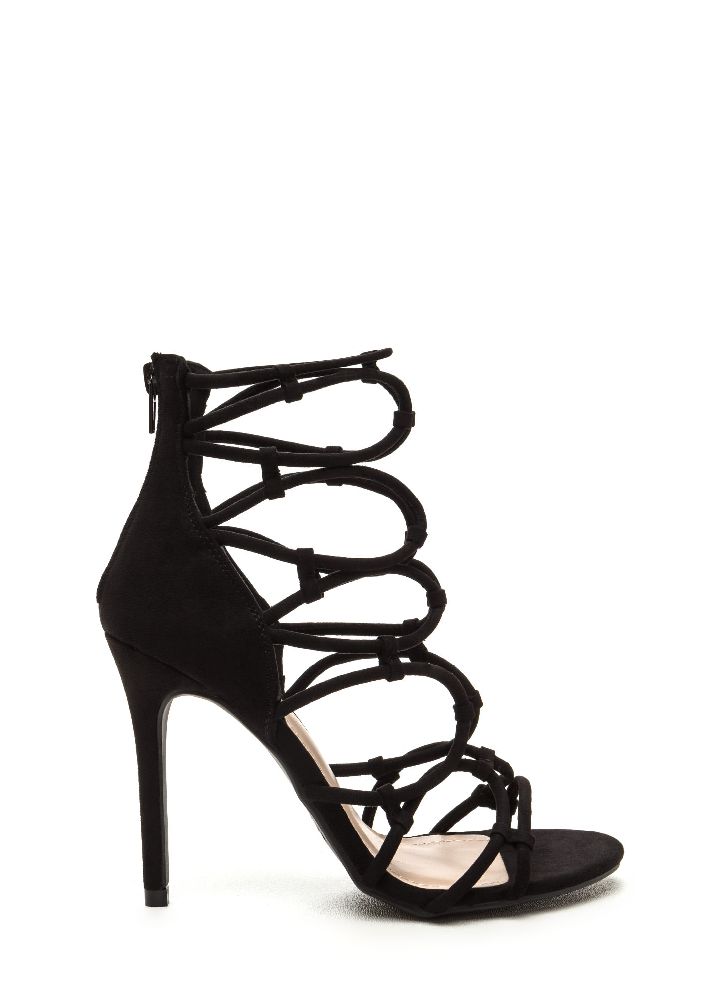 Little Loopholes Caged Faux Suede Heels BLACK