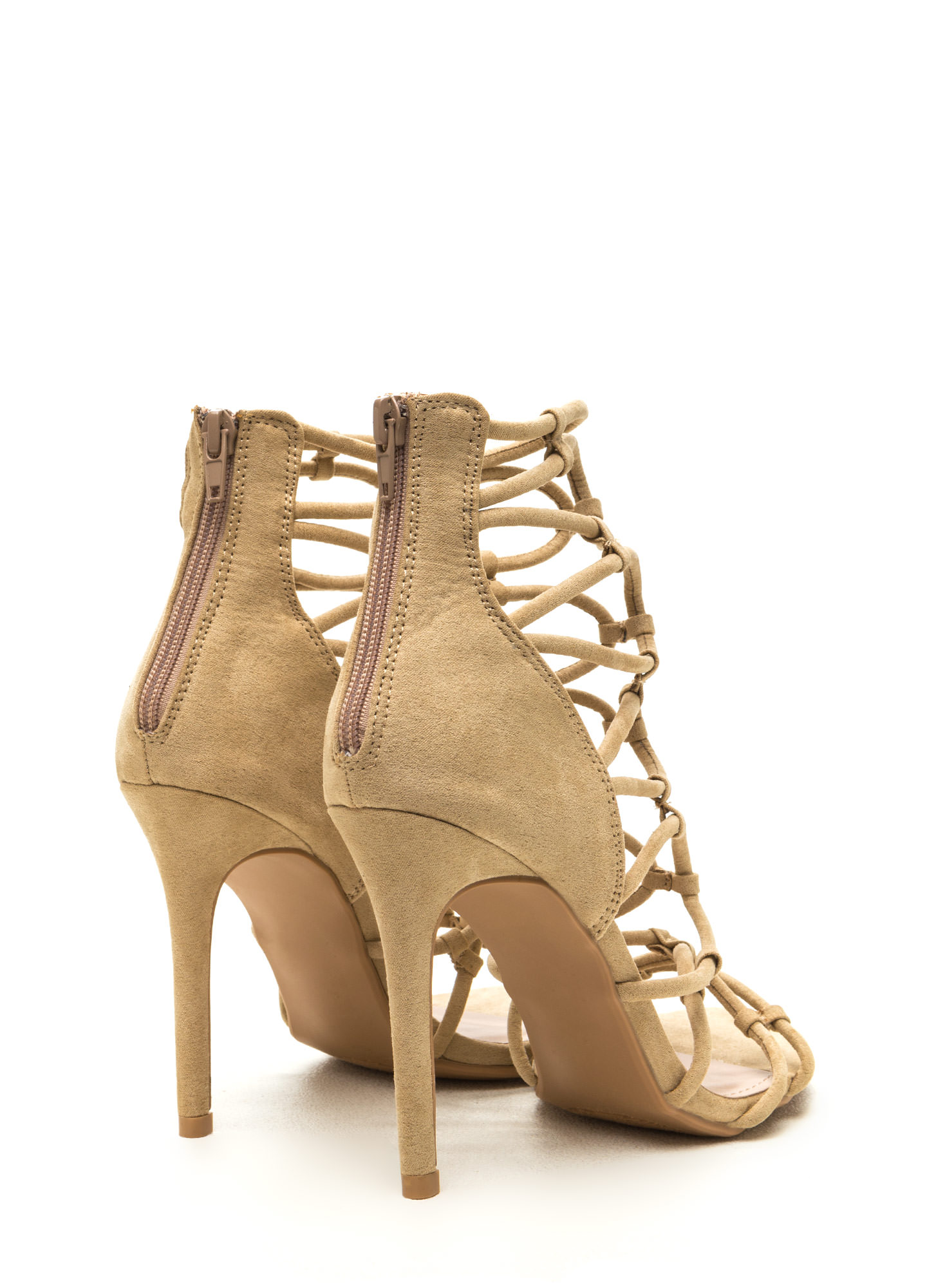 Little Loopholes Caged Faux Suede Heels NUDE