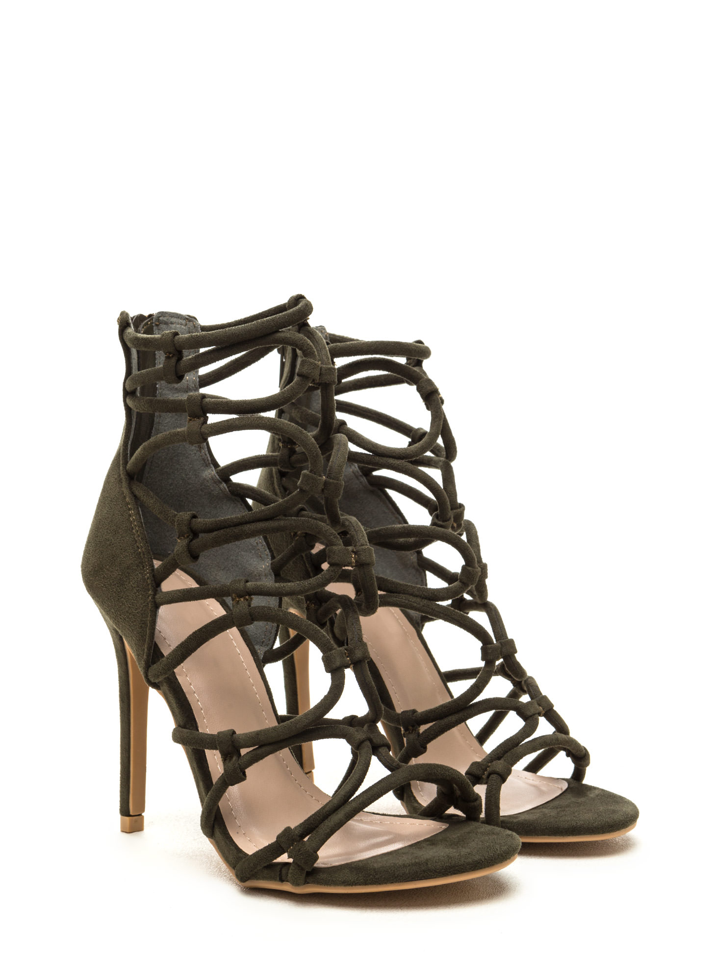 Little Loopholes Caged Faux Suede Heels OLIVE