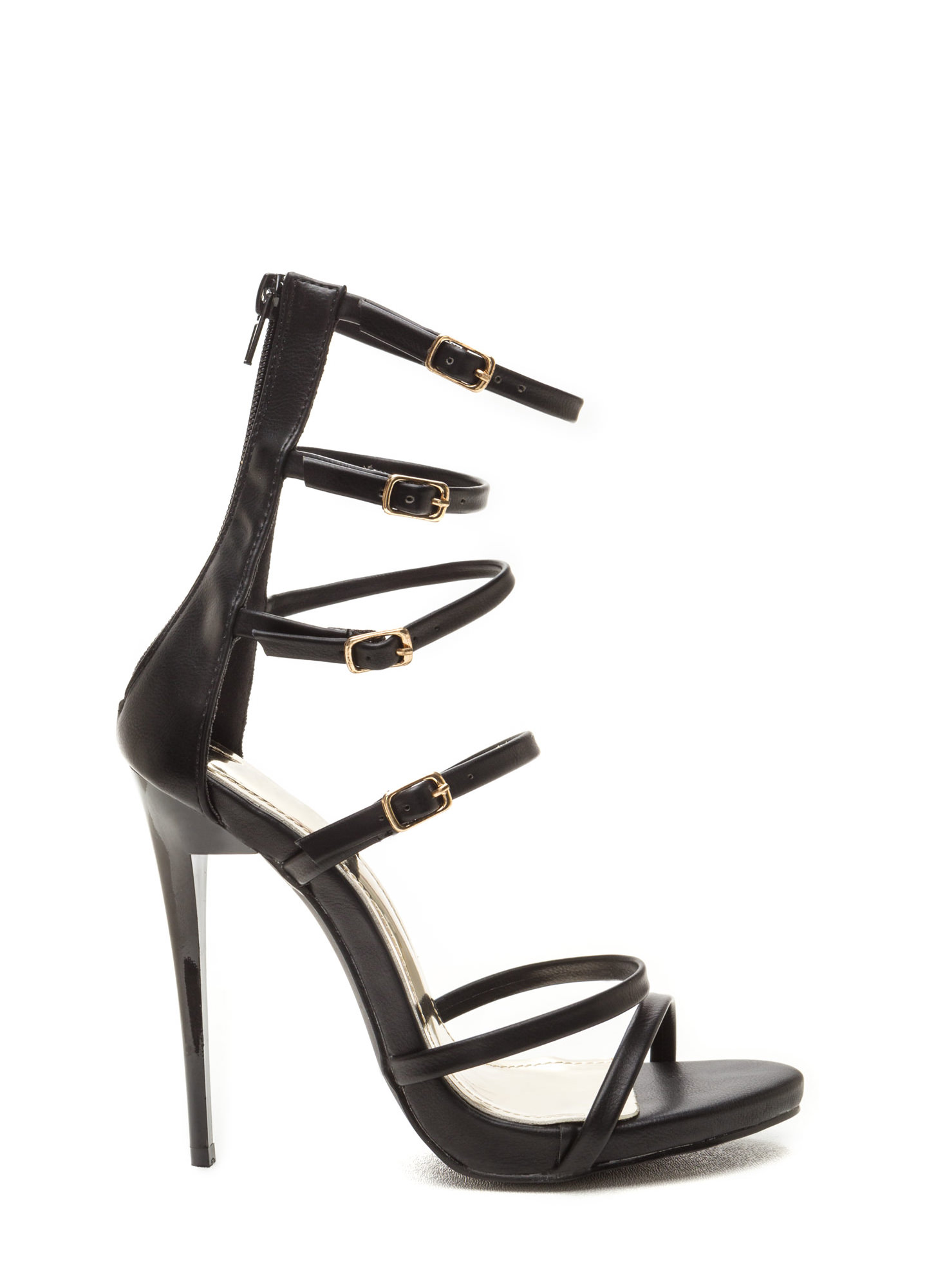 Quick Six Faux Leather Caged Heels BLACK