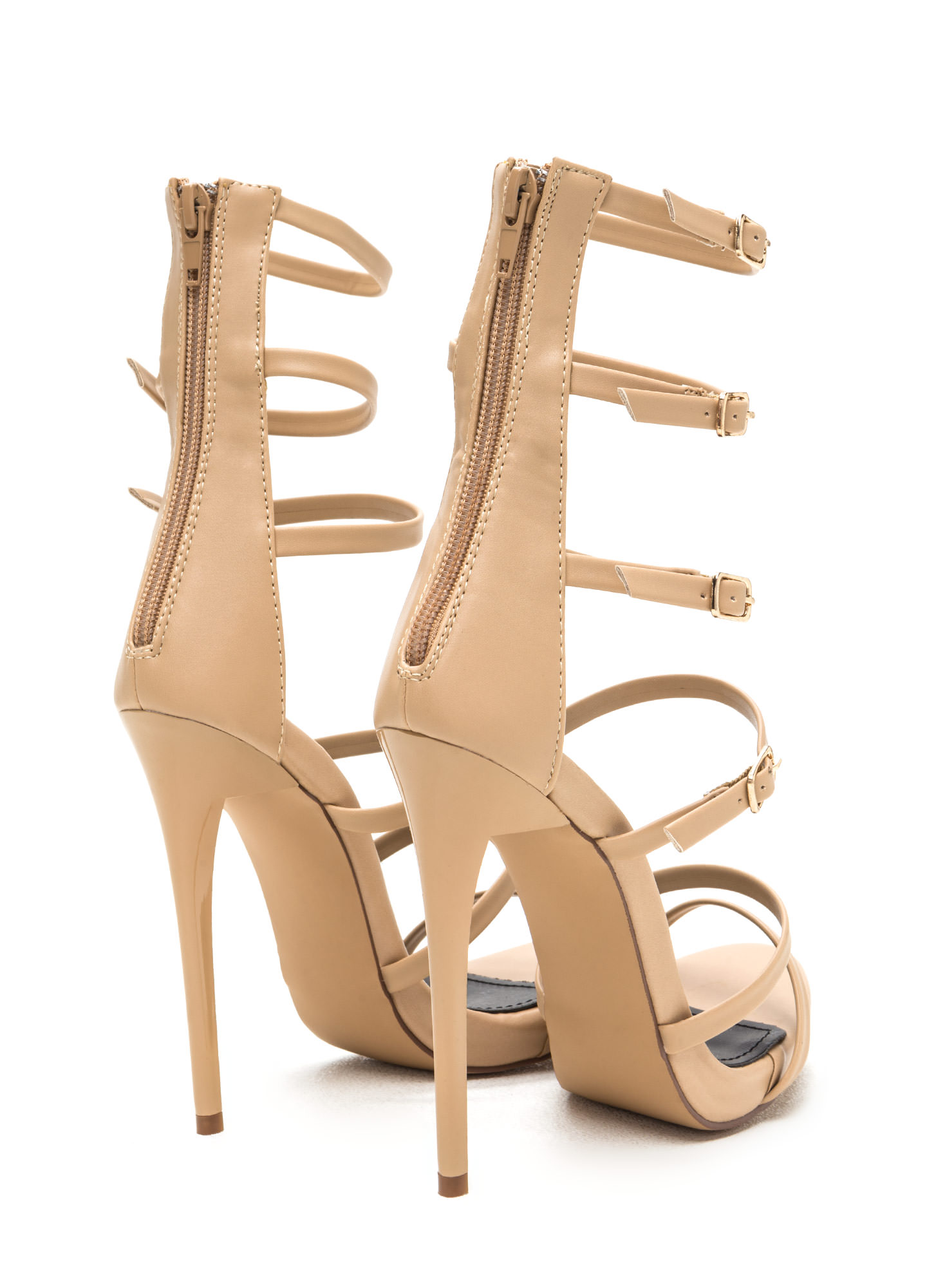 Quick Six Faux Leather Caged Heels NUDE