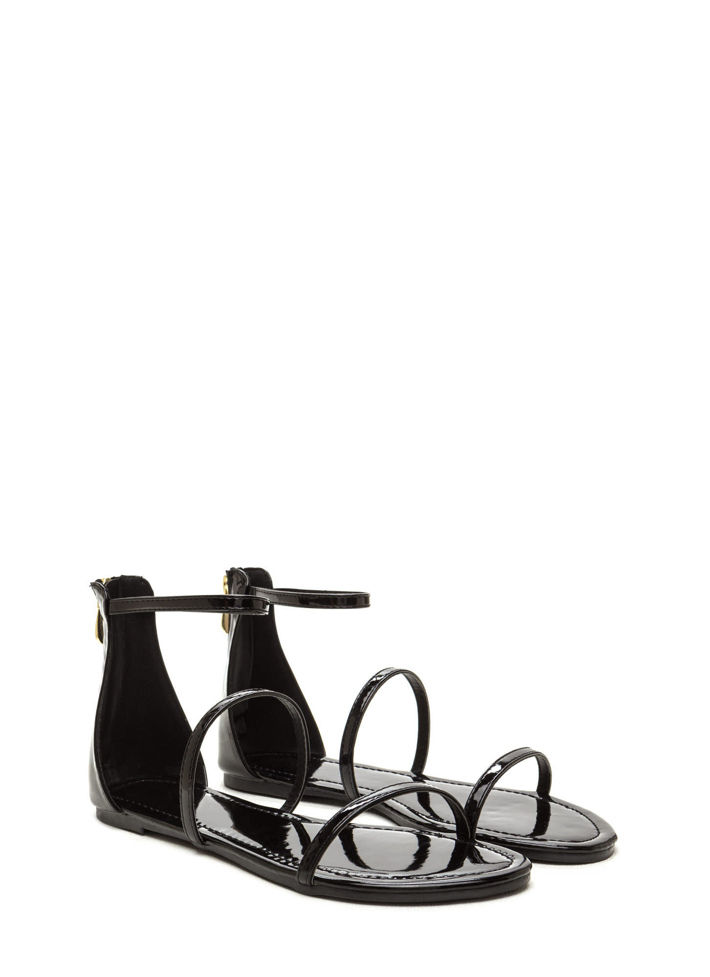 Triple Whammy Faux Leather Sandals BLACK