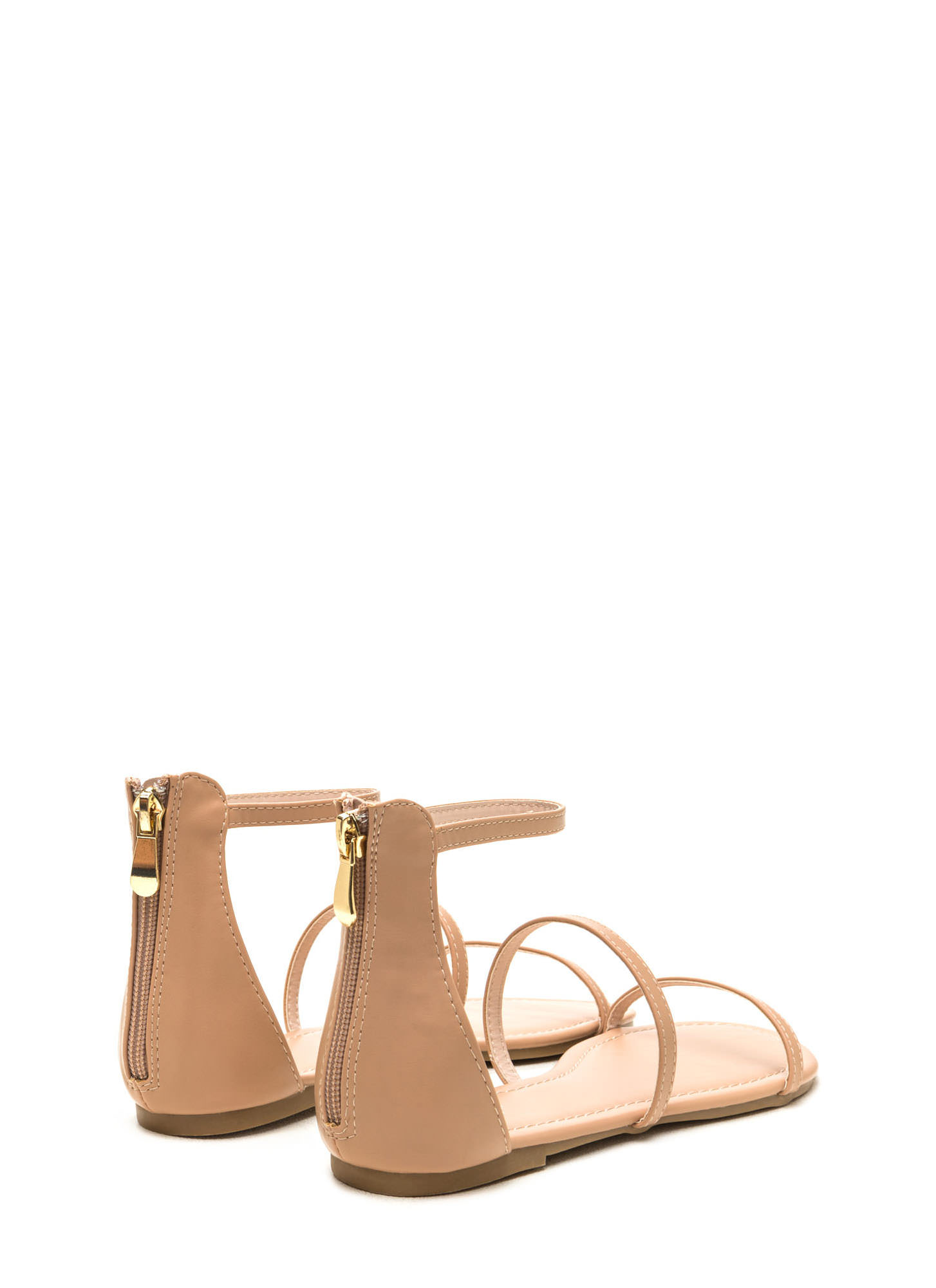 Triple Whammy Faux Leather Sandals NUDE